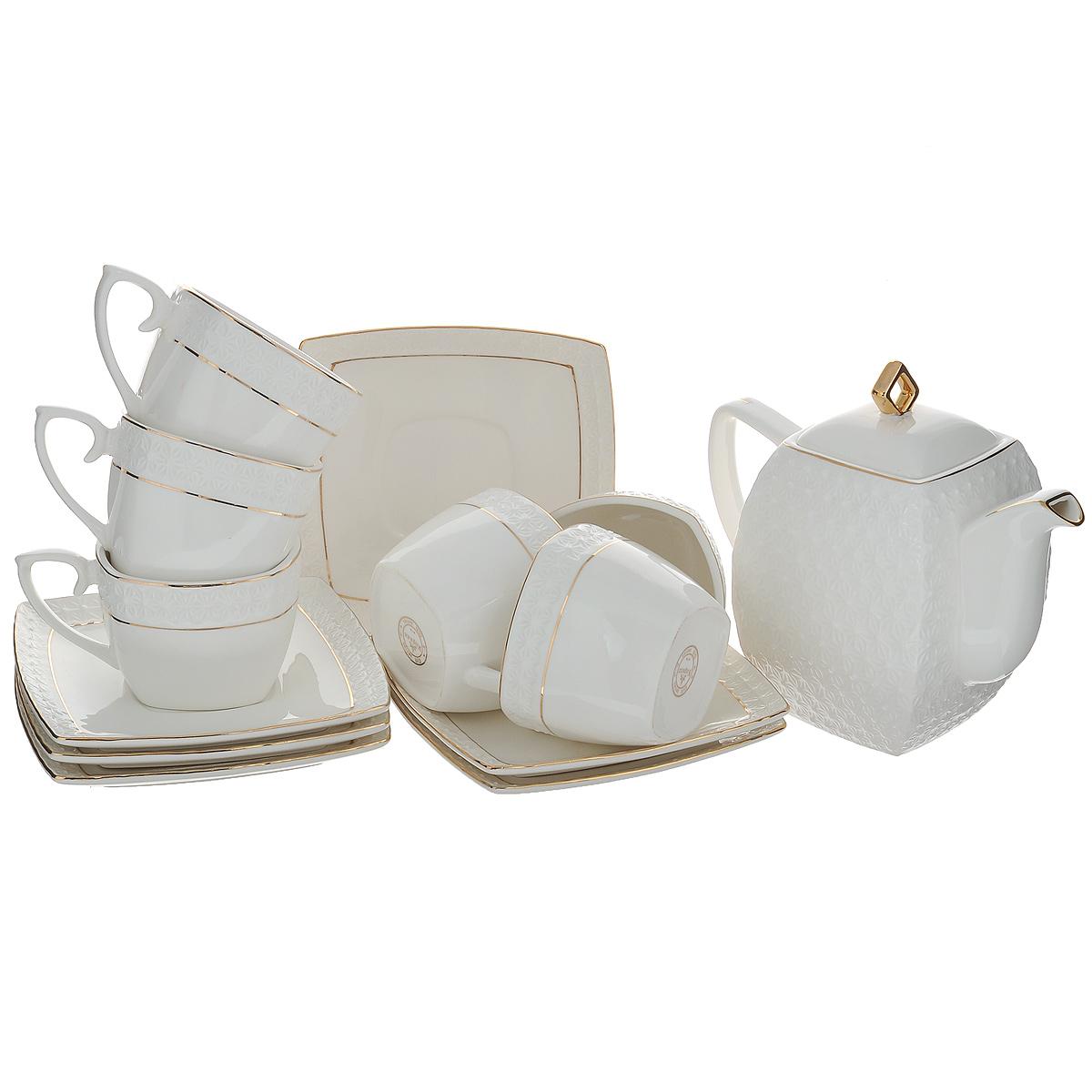 Набор чайный Korall Снежная королева, цвет: белый, 13 предметовDFC02063-02208 4/SЧайный набор Korall Снежная королева состоит из шести чашек, шести блюдец и чайника, изготовленных из высококачественной керамики. Изделия оформлены рельефным узором и позолоченной каймой. Изящный дизайн придется по вкусу и ценителям классики, и тем, кто предпочитает утонченность и изысканность. Изделия упакованы в подарочную коробку, драпированную атласной тканью. Нельзя мыть в посудомоечной машине и использовать в микроволновой печи.Размер чашек (по верхнему краю): 8,5 см х 8,5 см. Высота чашек: 6,5 см. Размер блюдец: 15 см х 15 см. Объем чашек: 240 мл. Объем чайника: 900 мл. Высота чайника (без учета крышки): 12,5 см. Размер чайника (по верхнему краю): 5,5 см х 5,5 см.