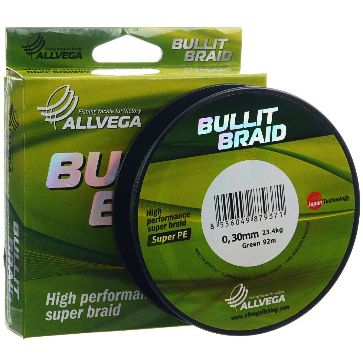 Леска плетеная Allvega  Bullit Braid , цвет: темно-зеленый, 92 м, 0,3 мм, 23,4 кг - Рыбалка