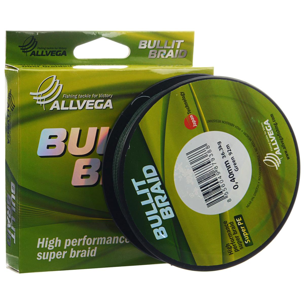 Леска плетеная Allvega Bullit Braid, цвет: темно-зеленый, 92 м, 0,4 мм, 36,3 кг4271825Леска Allvega Bullit Braid разработана с учетом новейших японских технологий в сфере строения волокон. Благодаря микроволокнам полиэтилена (Super PE) леска имеет очень плотное плетение, не впитывает воду, имеет гладкую круглую поверхность и одинаковое сечение по всей длине.