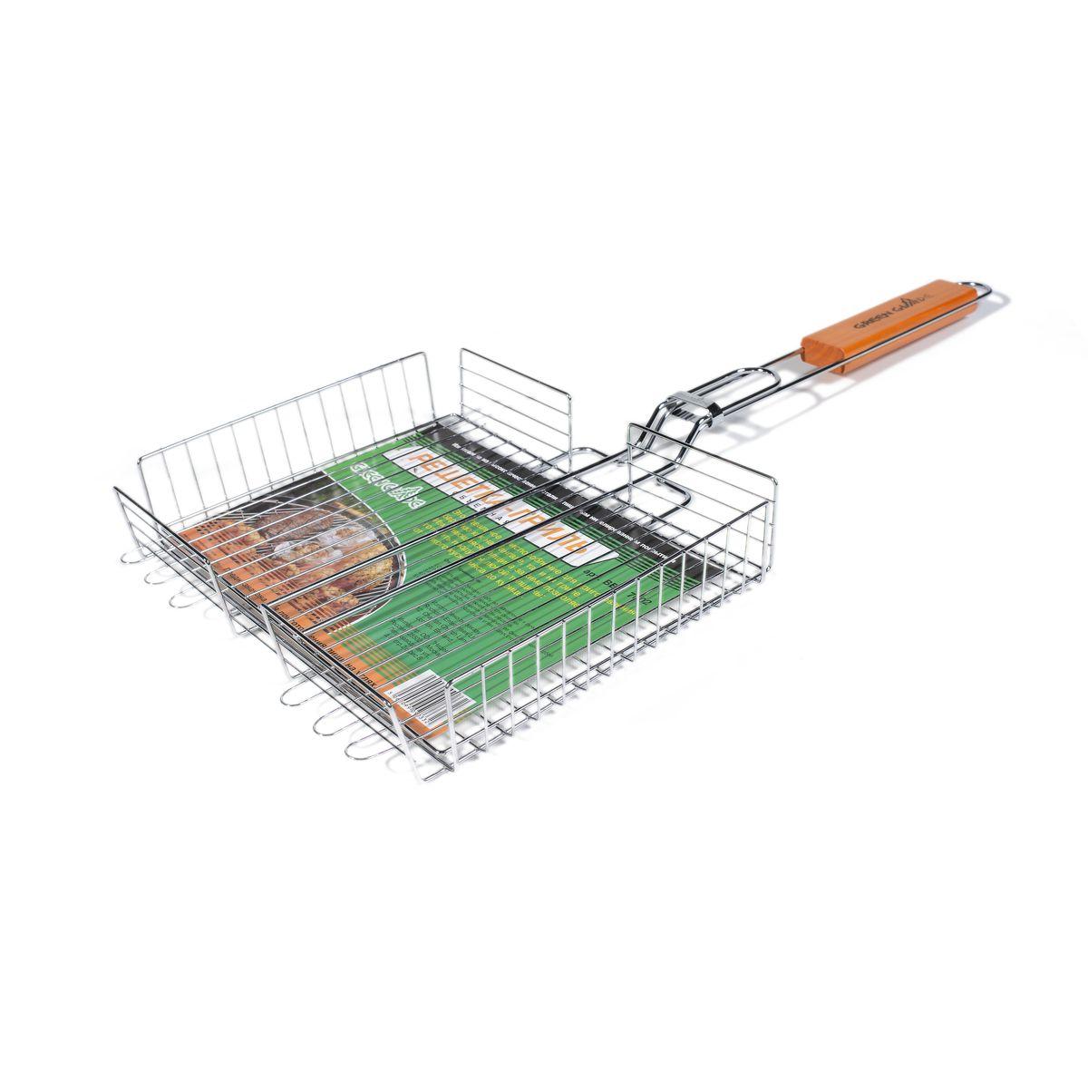Решетка-гриль Green Glade, объемная, 41 см х 31 см7003Двойная объемная решетка-гриль Green Glade изготовлена из высококачественной хромированной стали с пищевым никелированным покрытием. Это идеальное приспособление для приготовления барбекю как на мангале, так и на гриле. На решетке удобно размещать стейки, ребрышки, сосиски и т.д. Изменяющаяся толщина зажима позволяет готовить продукты любой толщины: от тонкого куска мяса до курицы. Предназначена для приготовления пищи на углях. Блюда получаются сочными, ароматными, с аппетитной специфической корочкой. Рукоятка изделия оснащена деревянной вставкой и фиксирующей скобой, которая зажимает створки решетки. Размер рабочей поверхности решетки: 41 см х 31 см. Общая длина решетки (с ручкой): 67 см.Высота стенки решетки: 6 см.