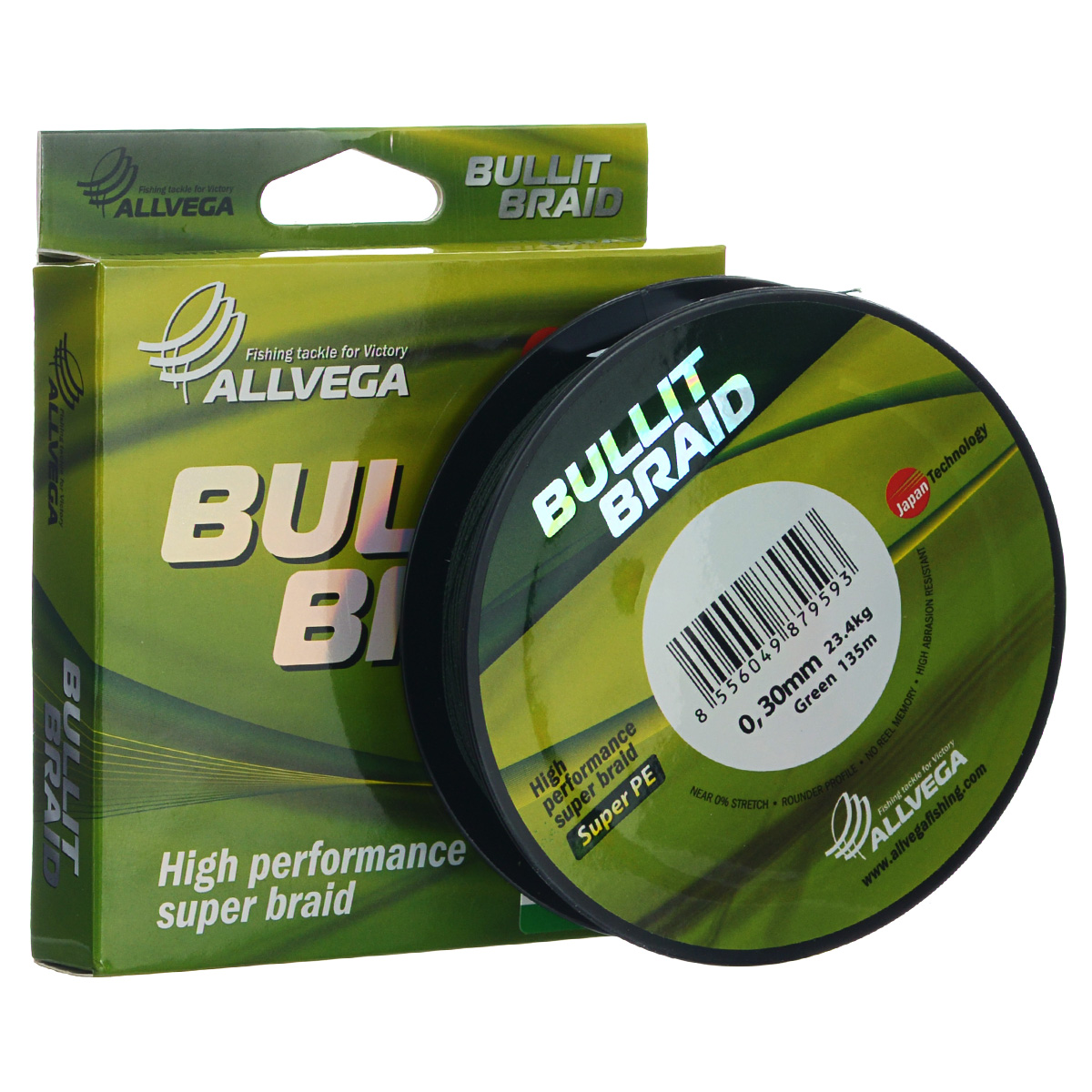 Леска плетеная Allvega  Bullit Braid , цвет: темно-зеленый, 135 м, 0,3 мм, 23,4 кг - Рыбалка