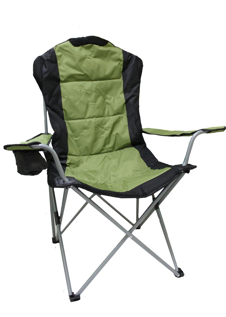 Кресло складное Green Glade, цвет: зеленый, 60 см х 66 см х 50/95 смWS 7064Складное кресло Green Glade прекрасно подойдет для отдыха на природе или на даче. Кресло удобно и компактно складывается, легко раскладывается. Каркас выполнен из стали, а сиденье и подлокотники - из полиэстера с ПВХ набивкой из пеноматериала. Имеются участки из Mesh-сетки, которая поможет обеспечить хорошую воздухопроницаемость. Один из подлокотников оснащен подстаканником. Кресло выдерживает нагрузку до 120 кг. Для хранения предусмотрен чехол с ручкой для переноски на плече. Размер кресла (в собранном виде): 110 см х 20 см х 20 см. Размер кресла (в разобранном виде): 60 см х 66 см х 50/95 см. Диаметр стальных стрежней: 16 мм.