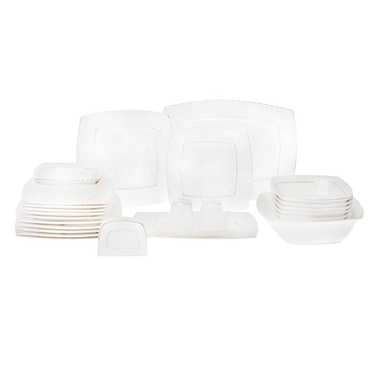 Набор столовой посуды Korall Снежная королева, цвет: белый, 27 предметов115510Набор столовой посуды Korall Снежная королева выполнен из высококачественной керамики. Изделия оформлены рельефным орнаментом и позолоченной окантовкой. Столовый набор Korall Снежная королева сочетает в себе изысканный дизайн с максимальной функциональностью. В набор входит: - 6 обеденных тарелок - 23 см х 23 см; - 6 десертных тарелок - 20,5 см х 20,5 см; - салатник - 23 см х 23 см х 7 см; - 6 салатников - 18 см х 18 см х 5 см; - 2 салатника - 15,5 см х 15,5 см х 4,5 см; - блюдо - 33,5 см х 24,5 см х 2,5 см; - блюдо - 28,5 см х 20,5 см х 2 см; - блюдо - 18 см х 10 см х 2 см; - солонка - 5,8 см х 5,8 см х 7 см; - перечница - 5,8 см х 5,8 см х 7 см; - подставка для салфеток - 10,5 см х 3,9 см х 7,7 см.Такой набор будет уместен на любой кухне и прекрасно подойдет для сервировки праздничного стола.