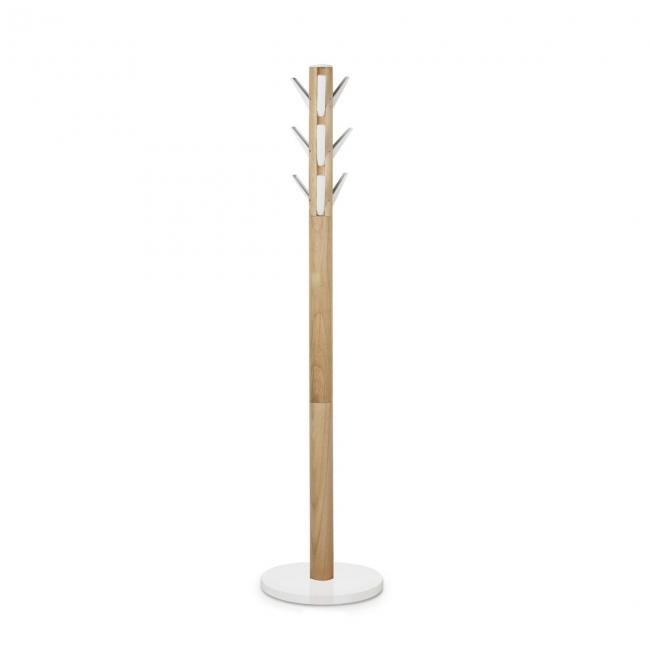 Вешалка Umbra Flapper, напольная, деревянная, высота 165 смES-412С нашим климатом просто необходимо носить куртки, плащи, пуховики и, конечно же, вопрос, куда повесить одежду возникает автоматически. Вешалка Umbra Flapper изготовленная из натурального дерева, идеально впишется в прихожую или в офисное пространство. Вешалка имеет 9 откидных крючков, благодаря которым похожа немного на кактус и еще немного на сосну с ветками, которые запросто выдержат шубу, сумку, кожаную куртку, шляпу и плащ. Элегантное решение насущной проблемы русского климата. Высота вешалки: 165 см.Диаметр по нижнему краю: 39 см.