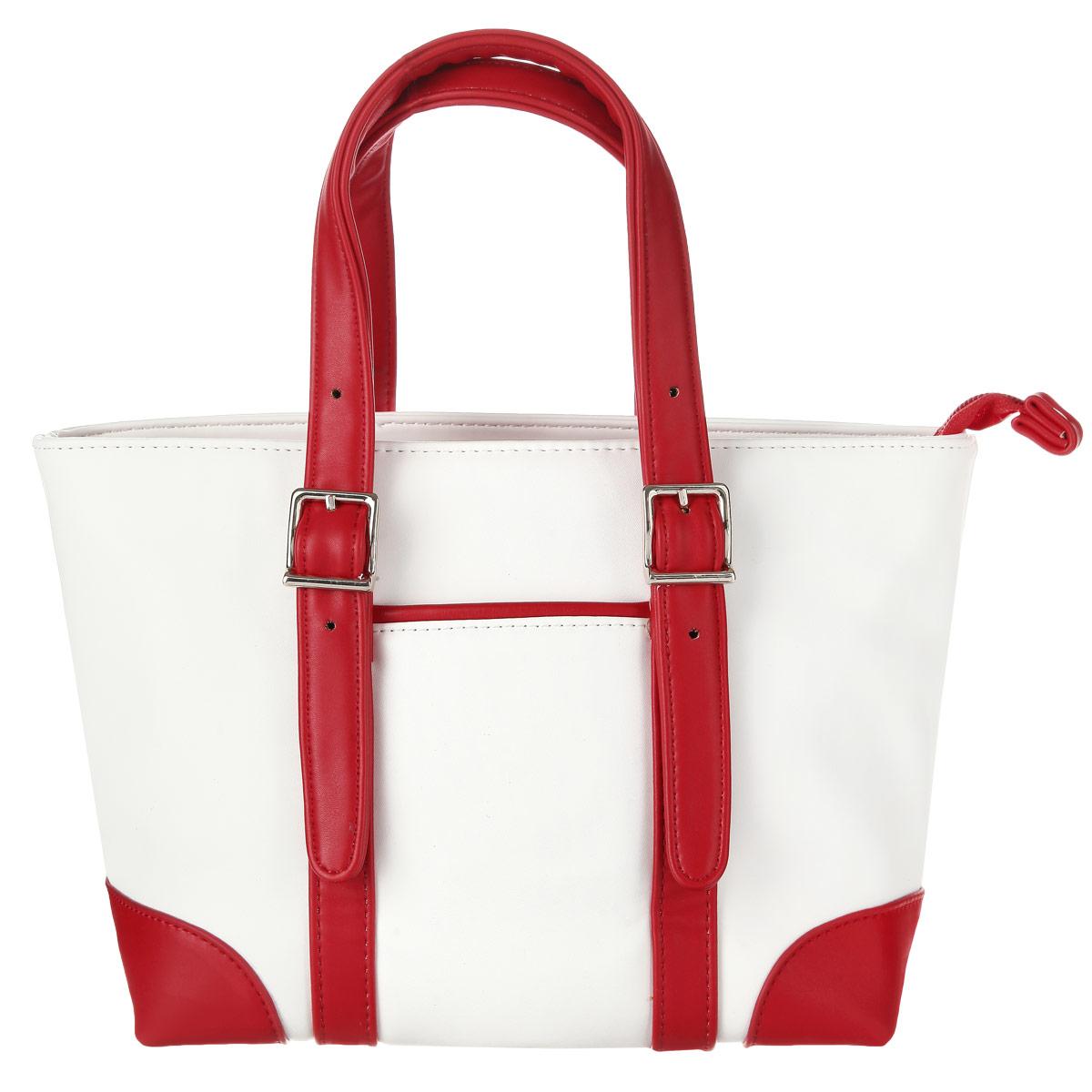 Сумка женская Leighton, цвет: белый, красный. 550265-082S76245Изысканная женская сумка Leighton выполнена из высококачественной искусственной кожи. Сумка закрывается на застежку-молнию. Внутри одно отделение, разделенное карманом-средником на застежке-молнии, также есть два накладных кармашка для мелочей и телефона и врезной карман на застежке-молнии. Ручки сумки крепятся на металлическую фурнитуру. Внешняя сторона дополнена не большим открытым кармашком. В комплекте чехол для хранения. Яркий дизайн сумки, сочетающий классические формы с оригинальным оформлением, позволит вам подчеркнуть свою индивидуальность и сделает ваш образ изысканным и завершенным.