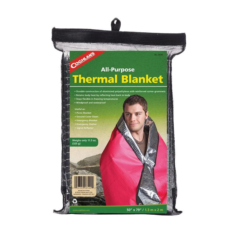 Термоодеяло Coghlans, многофункциональное, 1,3 м х 2 м17102028Прочное, легкое и компактное термоодеяло Coghlans изготовлено из многослойного алюминизированного полиэтилена. Оно эффективно сохраняет тепло, защищает от воды и ветра. Износостойкое и надежное, одеяло остается эластичным и эргономичным даже в сильные морозы.Такое термоодеяло - хороший подарок для того, кто любит путешествия, загородный отдых, а также оно пригодится водителям, спортсменам и профессионалам, работающим на свежем воздухе.Изделие упаковано в черную сетку на липучке.Материал: алюминизированный полиэтилен. Размер: 1,3 м х 2 м.
