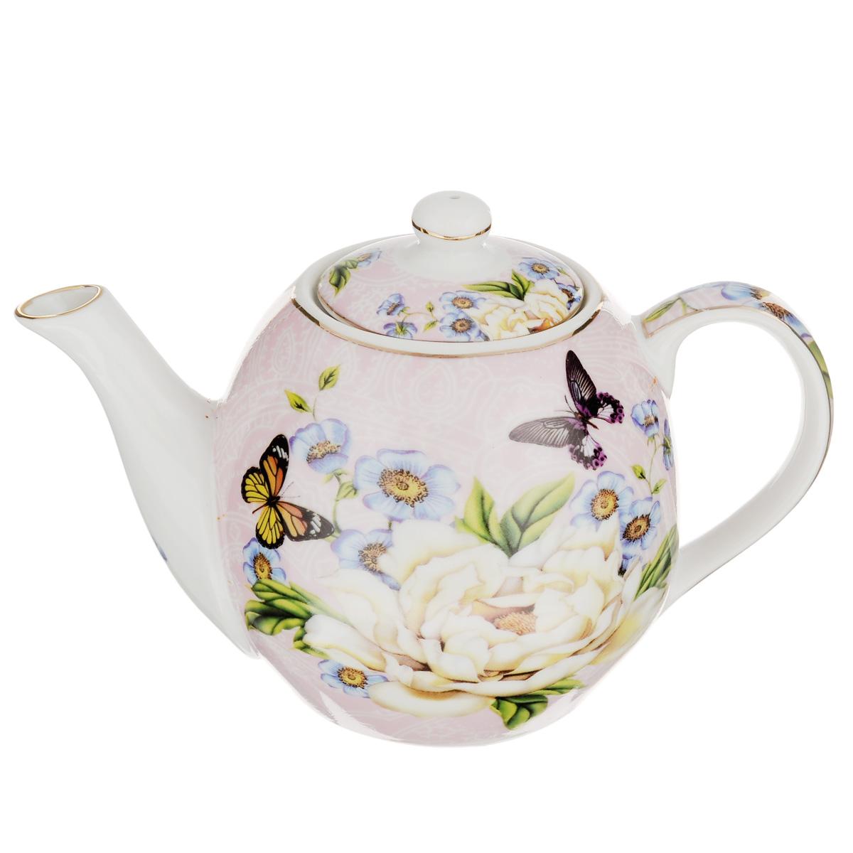 Чайник заварочный Briswild Бабочки на пионе, 470 млVT-1520(SR)Заварочный чайник Briswild Бабочки на пионе изготовлен из высококачественного фарфора и покрыт слоем сверкающей глазури. Посуда украшена изысканным изображением цветов и бабочек. Такой чайник прекрасно дополнит сервировку стола к чаепитию и станет его неизменным атрибутом. Не использовать в микроволновой печи. Объем: 470 мл. Диаметр (по верхнему краю): 6 см. Высота стенки (без учета крышки): 9 см.