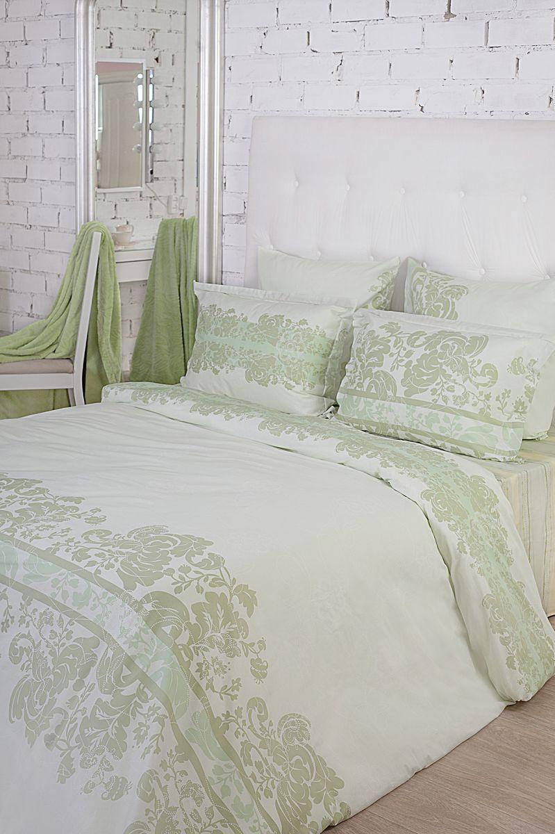 Комплект белья La Prima Оливия (2-спальный КПБ, сатин, наволочка-трансформер 50х70/70х70), светло-зеленый4630003364517Все оттенки нежной зелени отражены в дизайне «Оливия». Прекрасно дополяет нежную и сочную цветовую гамму дизайна оригинальный принт в виде замысловатых узоров насыщенно-зеленого цвета. Зеленый можно по праву назвать самым комфортным и свежим цветом из всей палитры, он вызывает только положительные эмоции и исключительно приятные ассоциации, например, с лесом, сочной листвой, яркой травой и минералами невероятной красоты. Использование зеленого цвета – идеально подходит для создания домашнего интерьера, который будет наполнен атмосферой релакса и полного умиротворения. Ткань Сатин (100% хлопок), в которой выполнен дизайн - идеально гладкая и нежная на ощупь, она дарит неповторимый комфорт во время сна и делает постельное белье истинным украшением спальни. Кроме того, постельно белье из ткани сатин очень прочное и износостойкое,приятное и легкое в уходе.