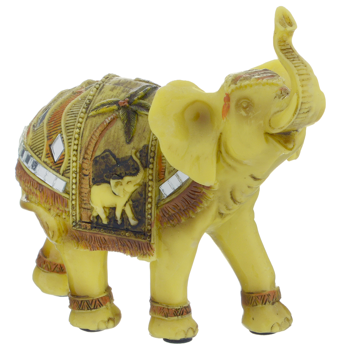 Фигурка декоративная Molento Бирманский слон, высота 11 см. 549-106890097Декоративная фигура Molento Бирманский слон, изготовленная из полистоуна, позволит вам украсить интерьер дома, рабочего кабинета или любого другого помещения оригинальным образом. Изделие выполнено в виде слона с поднятым хоботом и украшенного зеркальными элементами.С такой декоративной фигурой вы сможете не просто внести в интерьер элемент оригинальности, но и создать атмосферу загадочности и изысканности.Размер фигурки: 12,5 см 11 см х 5 см.Если поставить фигурку слона на подоконник, хоботом по направлению в окно, то он будет втягивать удачу с улицы в помещение. Однако если слон смотрит внутрь квартиры, то это будет символом того, что удача уже находится в доме.