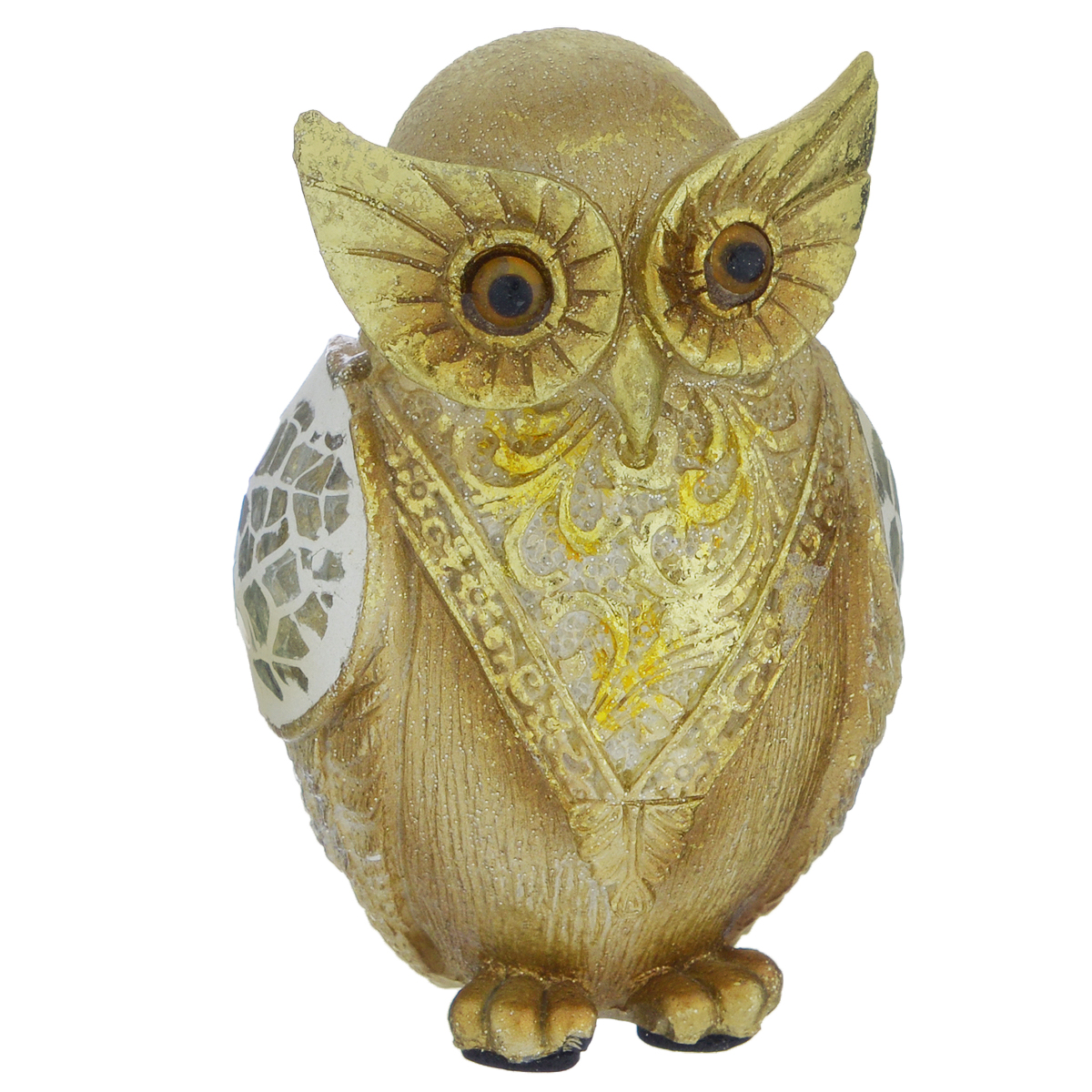 Фигурка декоративная Molento Золотая сова, высота 8,5 см695285Декоративная фигурка Molento Золотая сова, изготовленная из полистоуна, выполнена в виде совы и украшена блестками. Такая фигурка станет отличным дополнением к интерьеру.Вы можете поставить фигурку в любом месте, где она будет удачно смотреться, и радовать глаз. Кроме того, фигурка Золотая сова станет чудесным сувениром для ваших друзей и близких. Размер фигурки: 5,5 см х 5 см х 8,5 см.