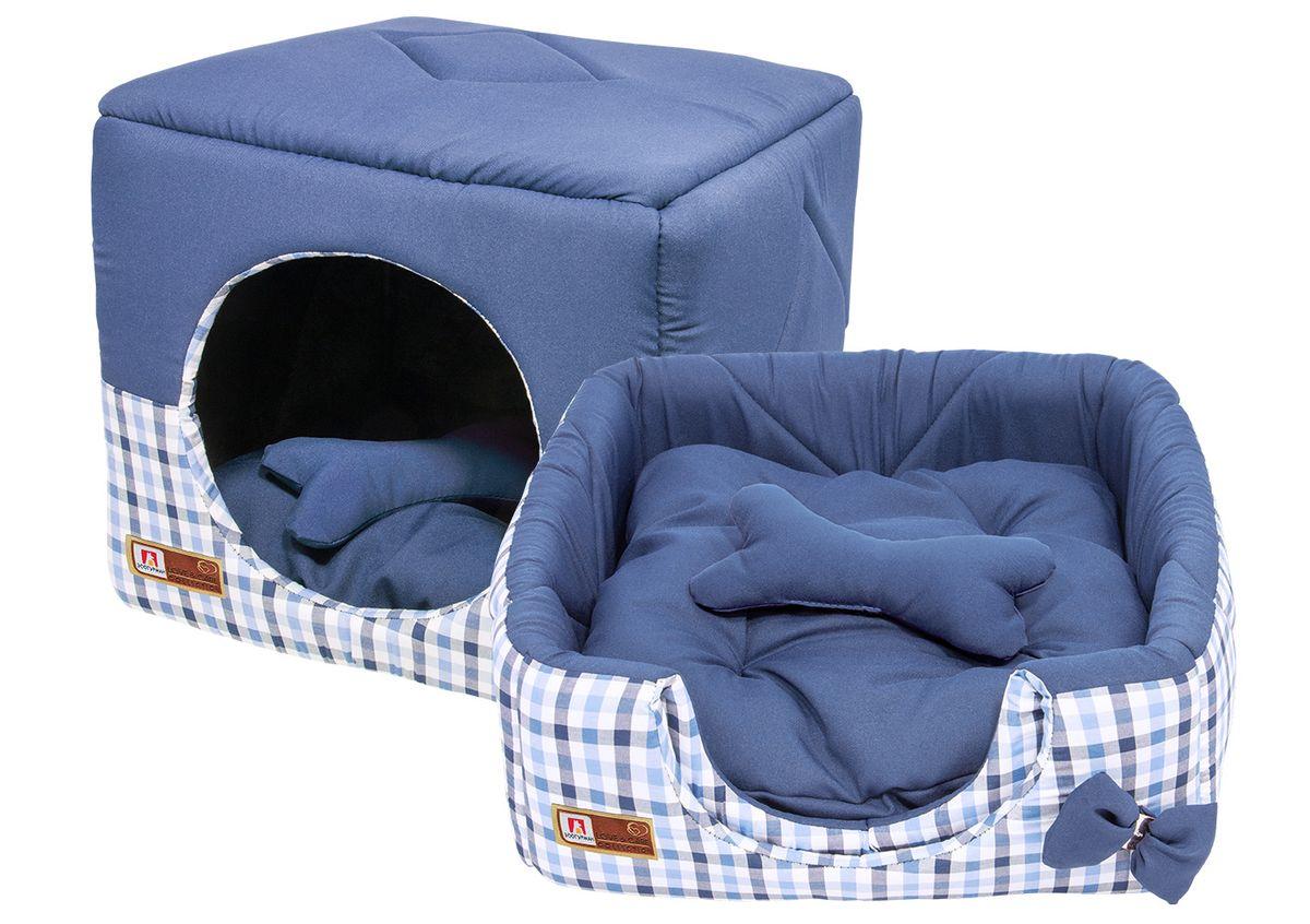 Лежак для собак и кошек Зоогурман Домосед, цвет: синий, 45 х 45 х 45 см0120710Оригинальный и мягкий лежак для кошек и собак Зоогурман Домосед обязательно понравится вашему питомцу. Лежак выполнен из приятного материала. Уникальная конструкция лежака имеет два варианта использования:- лежанка, с высокими бортиками и мягкой внутренней подушкой, - закрытый домик с мягкой подушкой внутри.Универсальный лежак-трансформер непременно понравится вашему питомцу, подарит ему ощущение уюта и комфорта.В комплекте со съемной подушкой мягкая игрушка «косточка».За изделием легко ухаживать, можно стирать вручную или в стиральной машине при температуре 40°С. Материал: микро волоконная шерстяная ткань.Наполнитель: гипоаллергенное синтетическое волокно. Наполнитель матрасика: шерсть.Размер: 45 см х 45 см х 45 см.Размер лежанки: 45 см х 20 см х 45 см.