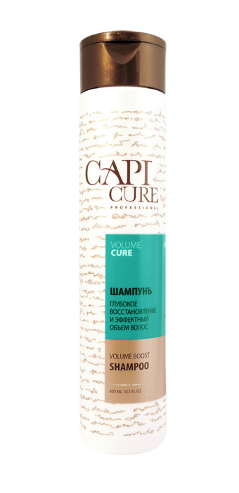 CapiCure Шампунь Глубокое восстановление и Эффектный объем волос, 300 мл51750161Шампунь Глубокое восстановление и Эффектный объем волосVolume Boost ShampooС помощью входящего в состав активного комплекса с протеинами сои и пшеницы шампунь CapiCure придает заметный и долговременный объем тонким ослабленным волосам, делая волосы пышными от корней, с ощущением легкости, без утяжеления. Растительные экстракты восстанавливают нормальную жизнедеятельность луковиц, добавляют эластичности и мерцающего блеска. Низкомолекулярный активный комплекс с протеинами сои проникает под чешуйки волоса, восстанавливая поврежденные участки, насыщая необходимыми белками и аминокислотами. Защитный комплекс с маслом жожоба и витамином Е активизирует процесс восстановления, обволакивает волос по всей длине, разглаживая поверхность и запечатывая лечебные компоненты внутри. CapiCure – это система комплексного восстановления волос после длительных и агрессивных повреждений. Все продукты серии предназначены и максимально эффективны для глубинного восстановления волос, дополняют действие друг друга и обеспечивают стойкий результат - увлажненные, живые и блестящие волосы.
