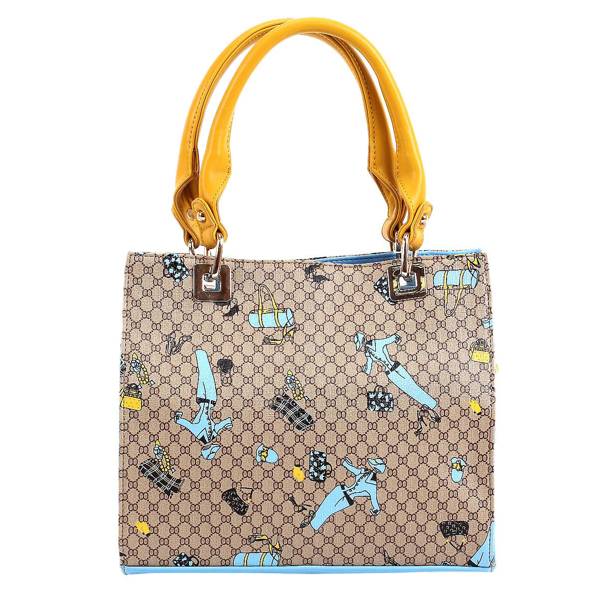 Сумка женская Leighton, цвет: бежевый, голубой. 560322-70273-47670-00504Женская сумка Leighton выполнена из искусственной кожи и оформлена ярким принтом с изображениями различных аксессуаров. Сумка закрывается на застежку-молнию. Внутри - одно отделение, разделенное средником на застежке-молнии, также имеется втачной карманчик на застежке-молнии и два накладных кармашка для мобильного телефона и мелочей. На задней стенке - карман на застежке-молнии. Сумка - это стильный аксессуар, который подчеркнет Вашу изысканность и индивидуальность и сделает Ваш образ завершенным.