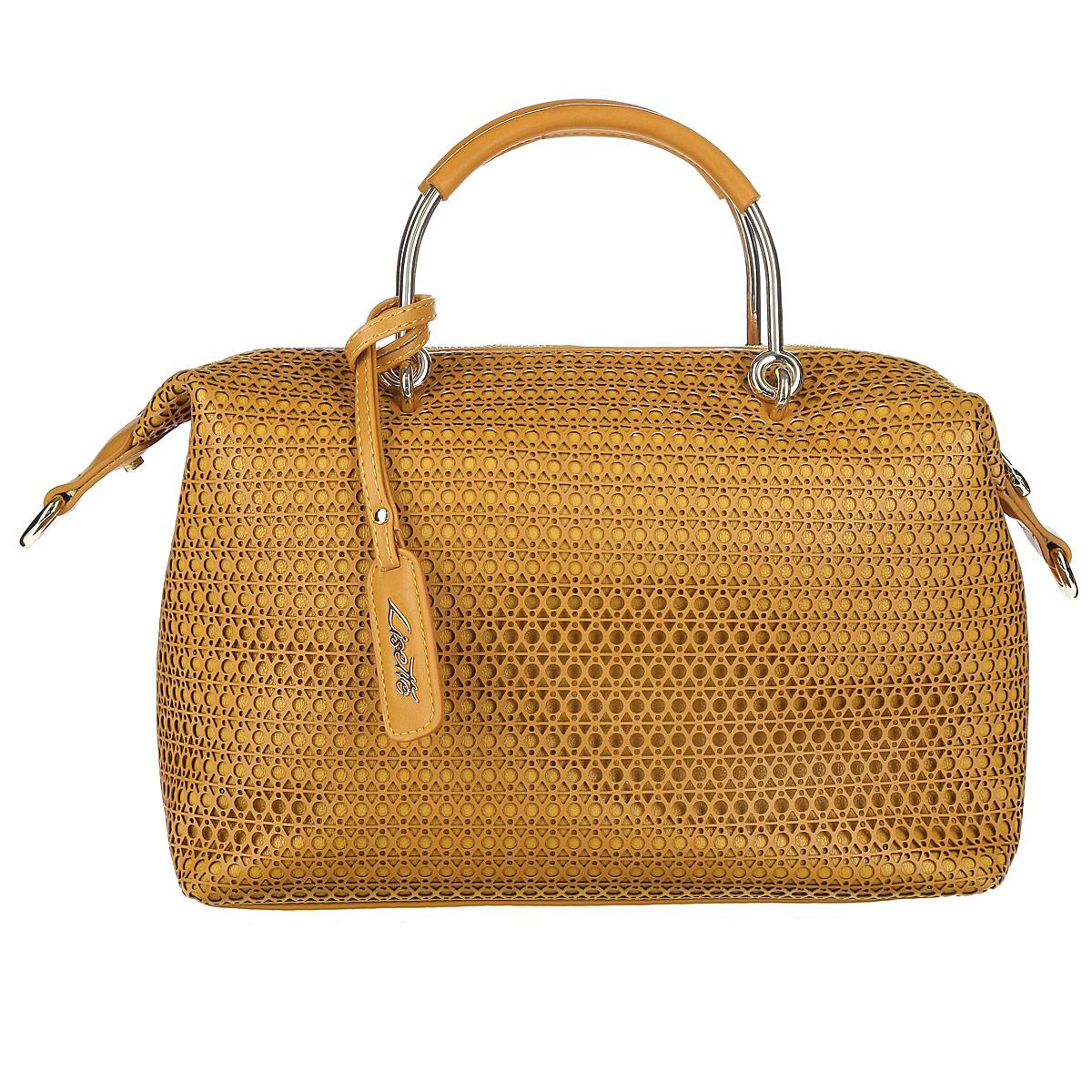 Сумкаженская Lisette, цвет: коричневый. 12-R38215BL39845800Стильная и необычная сумка из коллекции Lisette выполнена из высококачественной искусственной перфорированной кожи. Сумка имеет одно отделение, закрывающееся на молнию. Внутри есть врезной карман на застежке-молнии, накладной кармашек для мелочей и накладной карман для телефона, закрывающийся на клапан. Две металлические ручки обтянуты искусственной кожей и крепятся на металлическую фурнитуру. Сумка дополнена брелоком на ремешке с логотипом бренда. В комплекте съемный плечевой ремень регулируемой длины. В комплекте чехол для хранения.Сумка - это стильный аксессуар, который подчеркнет вашу изысканность и индивидуальность и сделает ваш образ завершенным. Изысканный декор, стильная фурнитура, классическая форма в сочетании с вместительностью и удобством делают эту модель прекрасным дополнением к вашему образу.