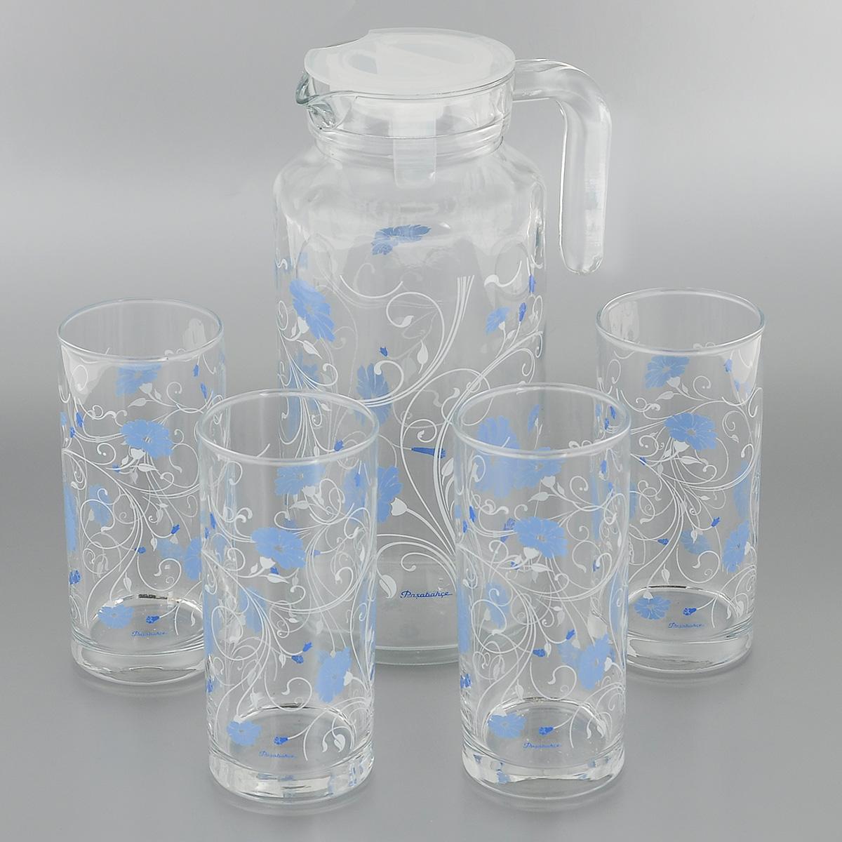 Набор для воды Pasabahce Workshop Serenade, цвет: синий, 5 предметовVT-1520(SR)Набор Pasabahce Workshop Serenade состоит из четырех стаканов и кувшина, выполненных из прочного натрий-кальций-силикатного стекла. Предметы набора, декорированные цветочным рисунком, предназначены для воды, сока и других напитков. Кувшин снабжен пластиковой, плотно закрывающейся крышкой. Изделия сочетают в себе элегантный дизайн и функциональность. Благодаря такому набору пить напитки будет еще вкуснее.Набор для воды Pasabahce Workshop Serenade прекрасно оформит праздничный стол и создаст приятную атмосферу. Такой набор также станет хорошим подарком к любому случаю. Можно мыть в посудомоечной машине и использовать в микроволновой печи.Объем кувшина: 1,3 л. Диаметр кувшина (по верхнему краю): 7,5 см. Высота кувшина (без учета крышки): 22,5 см. Объем стакана: 290 мл. Диаметр стакана (по верхнему краю): 5,5 см. Высота стакана: 13 см.