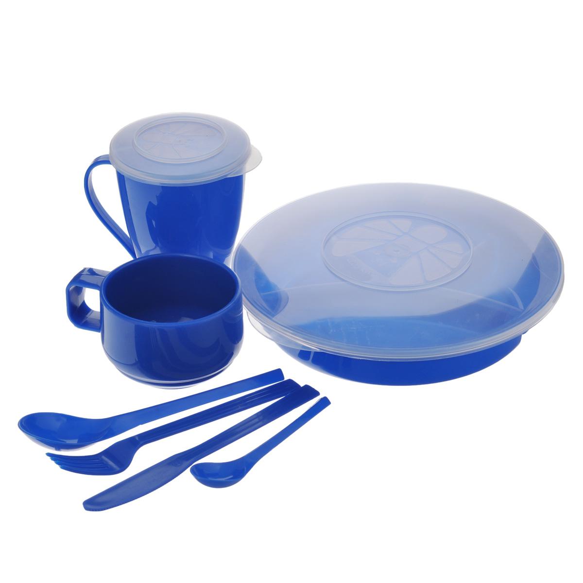 Набор посуды Solaris Вахтовый метод, цвет: синий, на 1 персону67743Компактный набор посуды Solaris Вахтовый метод, выполненный из качественного полипропилена, в удобной виниловой сумке с ручкой и молнией.Свойства посуды:Посуда из ударопрочного пищевого полипропилена предназначена для многократного использования. Легкая, прочная и износостойкая, экологически чистая, эта посуда работает в диапазоне температур от -25°С до +110°С. Можно мыть в посудомоечной машине. Эта посуда также обеспечивает:Хранение горячих и холодных пищевых продуктов;Разогрев продуктов в микроволновой печи;Приготовление пищи в микроволновой печи на пару (пароварка);Хранение продуктов в холодильной и морозильной камере;Кипячение воды с помощью электрокипятильника.Состав набора:Менажница с герметичной крышкой;Чашка для супа с герметичной крышкой, объем 0,5 л;Чашка объемом 0,28 л;Вилка;Ложка столовая;Нож;Ложка чайная.Диаметр менажницы: 22,5 см.Высота менажницы: 5 см.Диаметр чашки для супа по верхнему краю: 9,2 см.Диаметр дна чашки для супа: 5,7 см.Высота чашки для супа: 12,5 см.Диаметр чашки по верхнему краю: 9,3 см.Диаметр дна чашки: 6 см.Высота чашки: 6,5 см.Длина ложки: 19 см.Длина вилки: 19 см.Длина ножа: 19 см.Длина чайной ложки: 13,5 см.