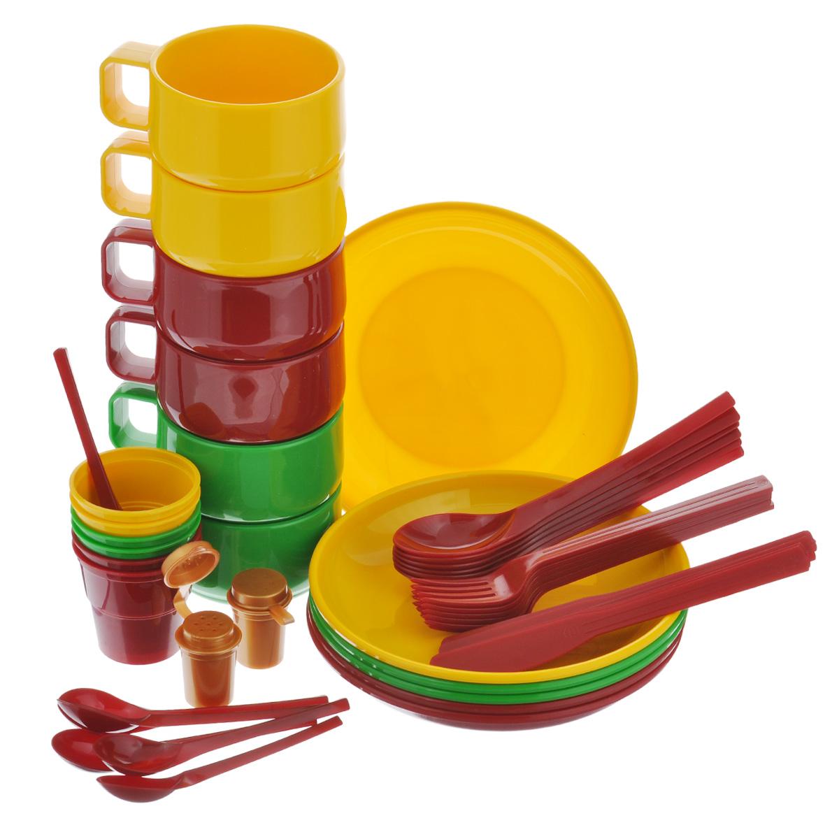 Набор посуды Solaris, на 6 персон42390710Компактный минималистичный набор посуды Solaris на 6 персон, в удобной виниловой сумке с ручкой и молнией.Свойства посуды:Посуда из ударопрочного пищевого полипропилена предназначена для многократного использования. Легкая, прочная и износостойкая, экологически чистая, эта посуда работает в диапазоне температур от -25°С до +110°С. Можно мыть в посудомоечной машине. Эта посуда также обеспечивает:Хранение горячих и холодных пищевых продуктов;Разогрев продуктов в микроволновой печи;Приготовление пищи в микроволновой печи на пару (пароварка);Хранение продуктов в холодильной и морозильной камере;Кипячение воды с помощью электрокипятильника.Комплектация набора на 6 персон:6 тарелок;6 чашек объемом 0,28 л;6 стаканов с мерными делениями объемом 0,1 л;6 вилок;6 столовых ложек;6 ножей;6 чайных ложек;2 солонки.Диаметр тарелок: 19 см.Высота тарелок: 3 см.Высота стаканов: 6,3 см.Диаметр стаканов: 6,5 см.Высота чашек: 6,5 см.Диаметр чашек: 9,5 см.Длина ложек: 19 см.Длина ложек: 19 см.Длина ножей: 19 см.Длина чайных ложек: 13,5 см.