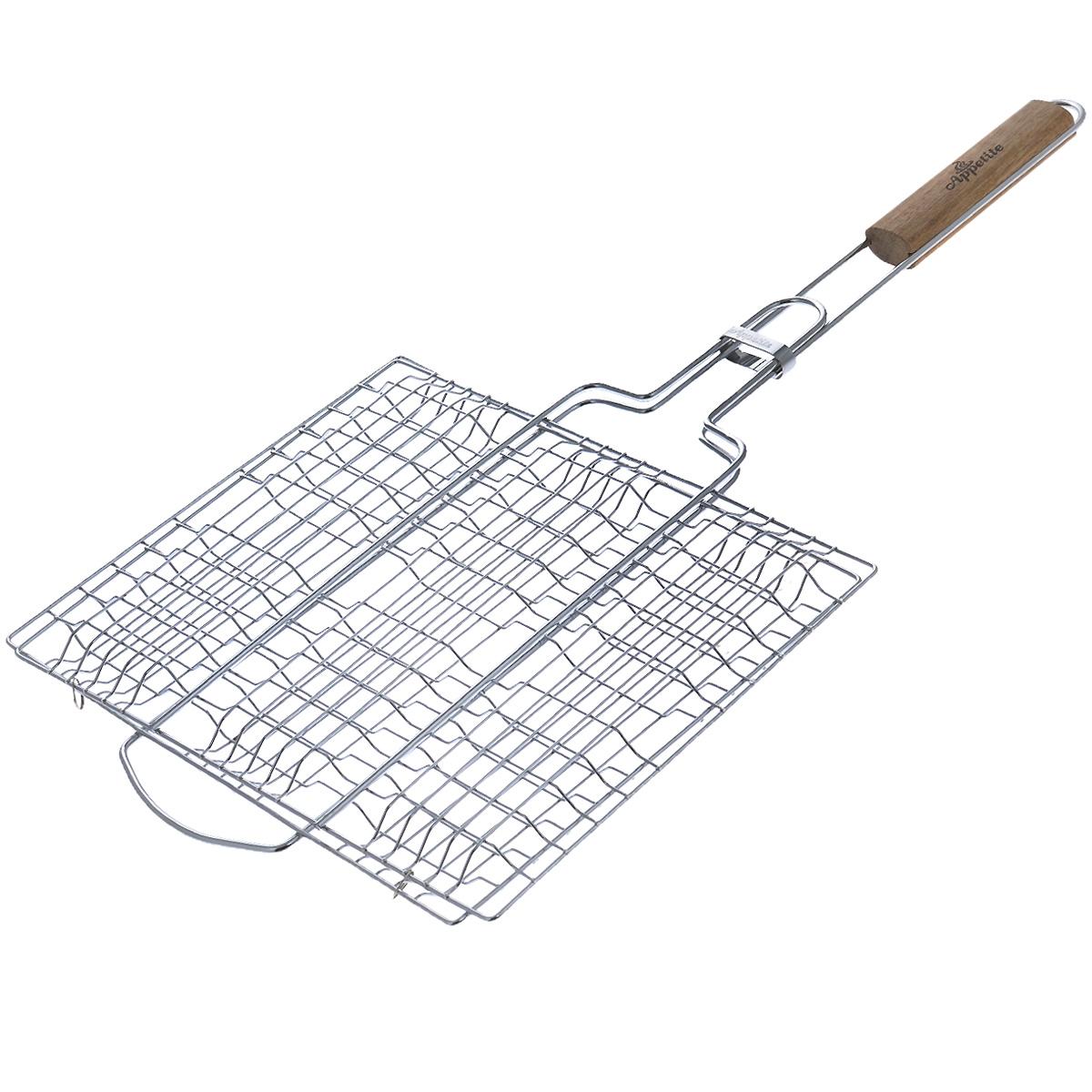 Решетка-гриль Appetite, плоская, 30 см х 25 см114Решетка-гриль Appetite изготовлена из стали с хромированным покрытием. Приготовление вкусных блюд из рыбы, мяса или птицы на пикнике становится еще более быстрым и удобным с использованием решетки-гриль. Изделие имеет деревянную вставку на ручке, предохраняющую руки от ожогов и позволяющую без труда перевернуть решетку. Надежное кольцо-фиксатор гарантирует, что решетка не откроется, и продукты не выпадут. Размер рабочей поверхности: 30 см х 25 см. Длина ручки: 32 см.