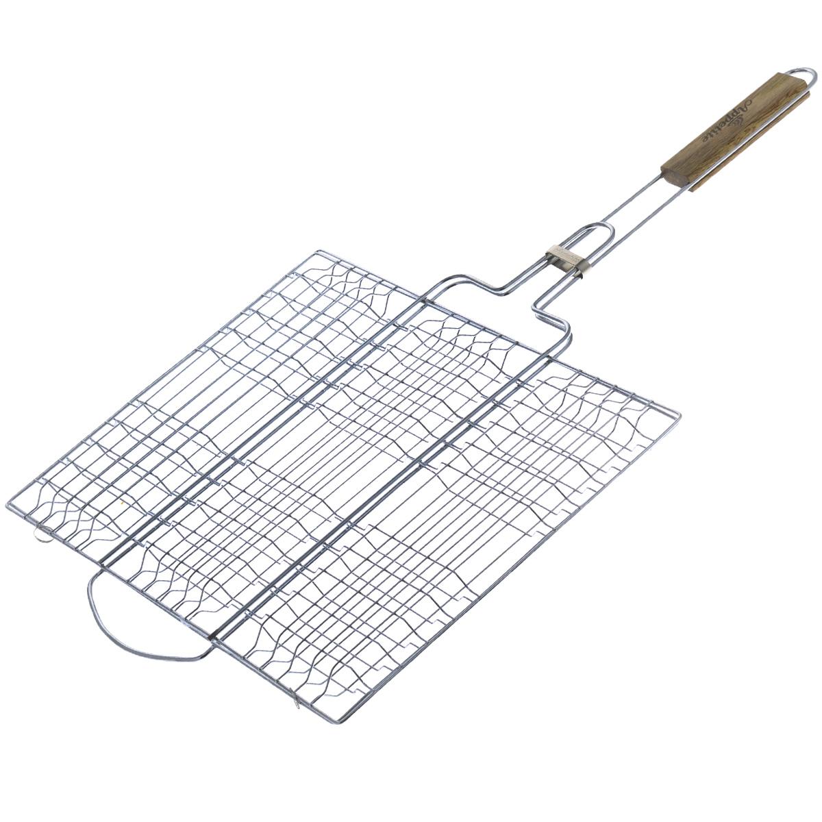 Решетка-гриль Appetite, плоская, 40 х 30 смWRA523700Решетка-гриль Appetite изготовлена из стали с хромированным покрытием. Приготовление вкусных блюд из рыбы, мяса или птицы на пикнике становится еще более быстрым и удобным с использованием решетки-гриль. Изделие имеет деревянную вставку на ручке, предохраняющую руки от ожогов и позволяющую без труда перевернуть решетку. Надежное кольцо-фиксатор гарантирует, что решетка не откроется, и продукты не выпадут. Размер рабочей поверхности: 40 см х 30 см. Длина ручки: 32 см.