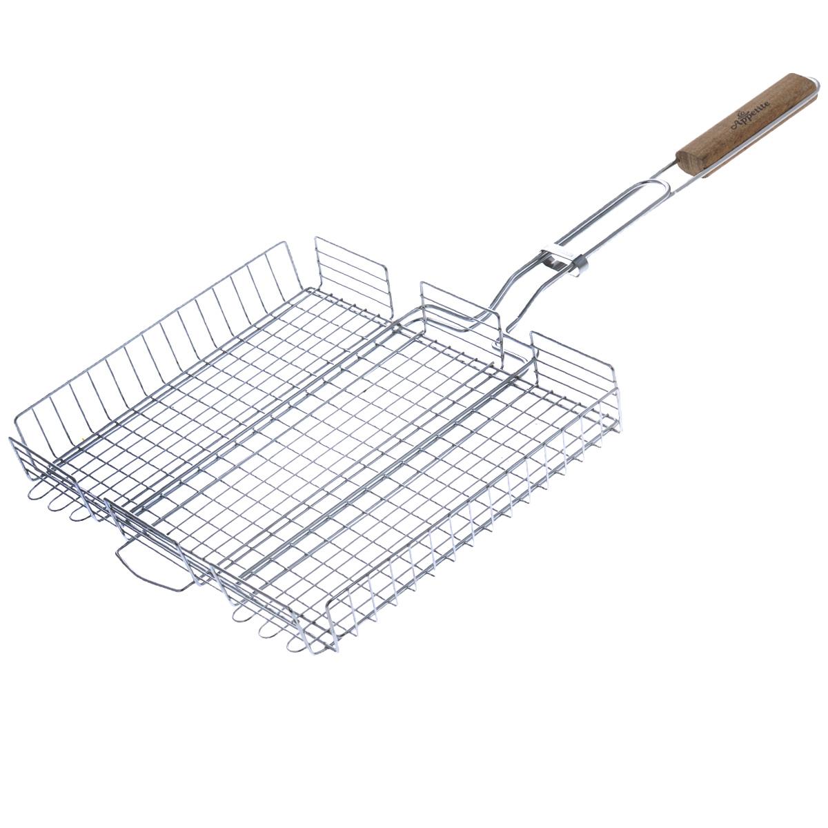 Решетка-гриль глубокая Appetite, 35 х 28,5 см391602Решетка-гриль Appetite изготовлена из стали с хромированным покрытием. Приготовление вкусных блюд из рыбы, мяса или птицы на пикнике становится еще более быстрым и удобным с использованием решетки-гриль. Верхняя прижимная сетка решетки регулируется по высоте и позволяет готовить продукты разной толщины. Высокие бортики не дадут упасть продуктам на угли при перевороте решетки. Решетка-гриль отлично подходит для мангала. Удобная для обхвата деревянная ручка помогает легче переворачивать решетку и делает ее использование более безопасным. Размер решетки: 35 см х 28,5 см х 4,5 см. Длина ручки: 36 см.