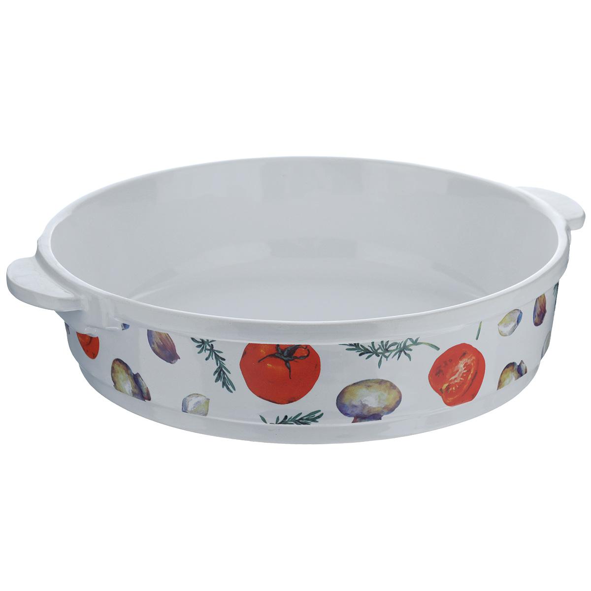 Форма для запекания Едим Дома Прованс, круглая, диаметр 26 смPRV069Круглая форма для запекания Едим Дома Прованс изготовлена из жаропрочной керамики, покрытой глазурью. Такая керамика выдерживает температуру от -30°С до +220°С, что позволяет использовать ее и в холодильнике, и в духовке. Изделие декорировано изображением овощей. Форма идеальна для запекания мяса и овощей. Оснащена удобными ручками. Можно использовать в микроволновой печи и духовке. Можно мыть в посудомоечной машине.Внутренний диаметр формы: 26 см. Размер формы (с учетом ручек): 30 см х 26 см. Высота стенки: 6,5 см.