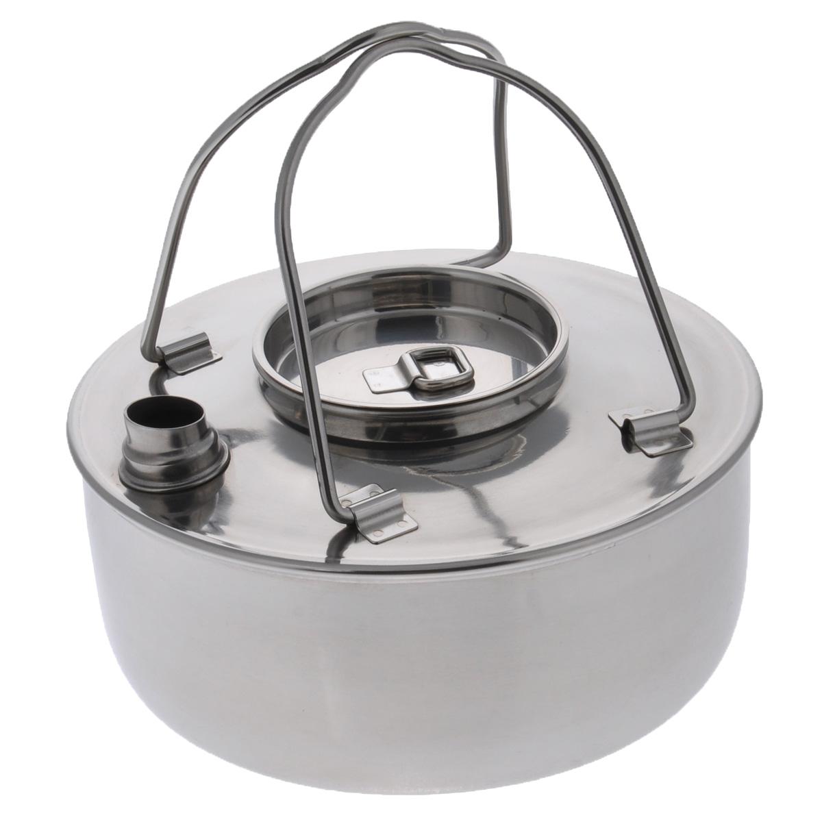 Чайник Canadian Camper, 1,2 л32100026Чайник Canadian Camper выполнен из высококачественной нержавеющей стали. Имеет компактный дизайн, благодаря чему он замечательно подходит для использования как дома, так и на выезде. Оснащен складными ручками.В комплекте сетчатый чехол для переноски.Диаметр чайника: 18 см.Высота чайника: 8 см.