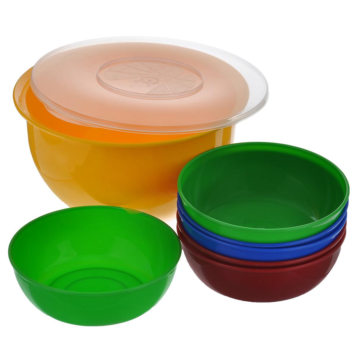 Набор посуды Solaris, 7 предметов. S16064033.000В состав набора Solaris входит 6 универсальных мисок и большая миска с герметичной крышкой. Большую миску можно использовать как пищевой контейнер, для приготовления салата, мариновки шашлыка и т.п.Свойства посуды:Посуда из ударопрочного пищевого полипропилена предназначена для многократного использования. Легкая, прочная и износостойкая, экологически чистая, эта посуда работает в диапазоне температур от -25°С до +110°С. Можно мыть в посудомоечной машине. Эта посуда также обеспечивает:Хранение горячих и холодных пищевых продуктов;Разогрев продуктов в микроволновой печи;Приготовление пищи в микроволновой печи на пару (пароварка);Хранение продуктов в холодильной и морозильной камере;Кипячение воды с помощью электрокипятильника.Объем большой миски: 3 л.Диаметр большой миски: 22,5 см.Высота большой миски: 12,7 см.Объем небольших мисок: 0,6 л.Диаметр небольших мисок: 15,3 см.Высота небольших мисок: 5,3 см.