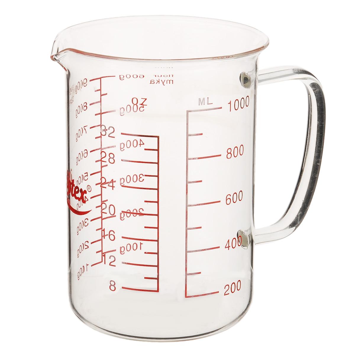 Стакан мерный Mijotex, 1 лMC18Мерный прозрачный стакан Mijotex выполнен из высококачественного стекла. Стакан оснащен удобной ручкой и носиком, которые делают изделие еще более простым в использовании. Он позволяет мерить жидкости до 1000 мл, также есть шкала измерения в унциях (oz). Такой стаканчик пригодится на каждой кухне, ведь зачастую приготовление некоторых блюд требует известной точности.Объем: 1000 мл.Диаметр (по верхнему краю): 11 см.Высота: 15,5 см.
