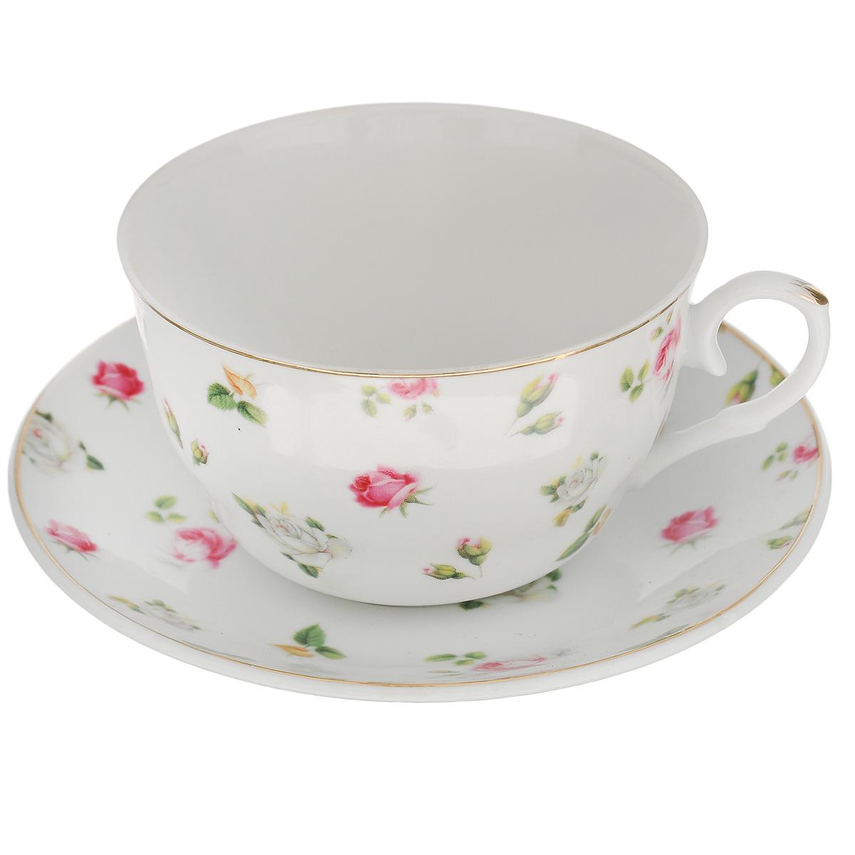 Набор чайный Briswild Валери, 2 предметаVT-1520(SR)Чайный набор Briswild Валери, выполненный из высококачественного фарфора, состоит из чашки и блюдца. Изделия декорированы золотой каймой и изображением цветов. Элегантный дизайн и совершенные формы предметов набора привлекут к себе внимание и украсят интерьер вашей кухни. Чайный набор Briswild Валери идеально подойдет для сервировки стола и станет отличным подарком к любому празднику.Чайный набор упакован в подарочную коробку. Не использовать в микроволновой печи. Не применять абразивные чистящие вещества. Объем чашки: 250 мл. Диаметр по верхнему кругу: 9,5 см.Высота стенки: 5 см. Диаметр блюдца: 14 см.
