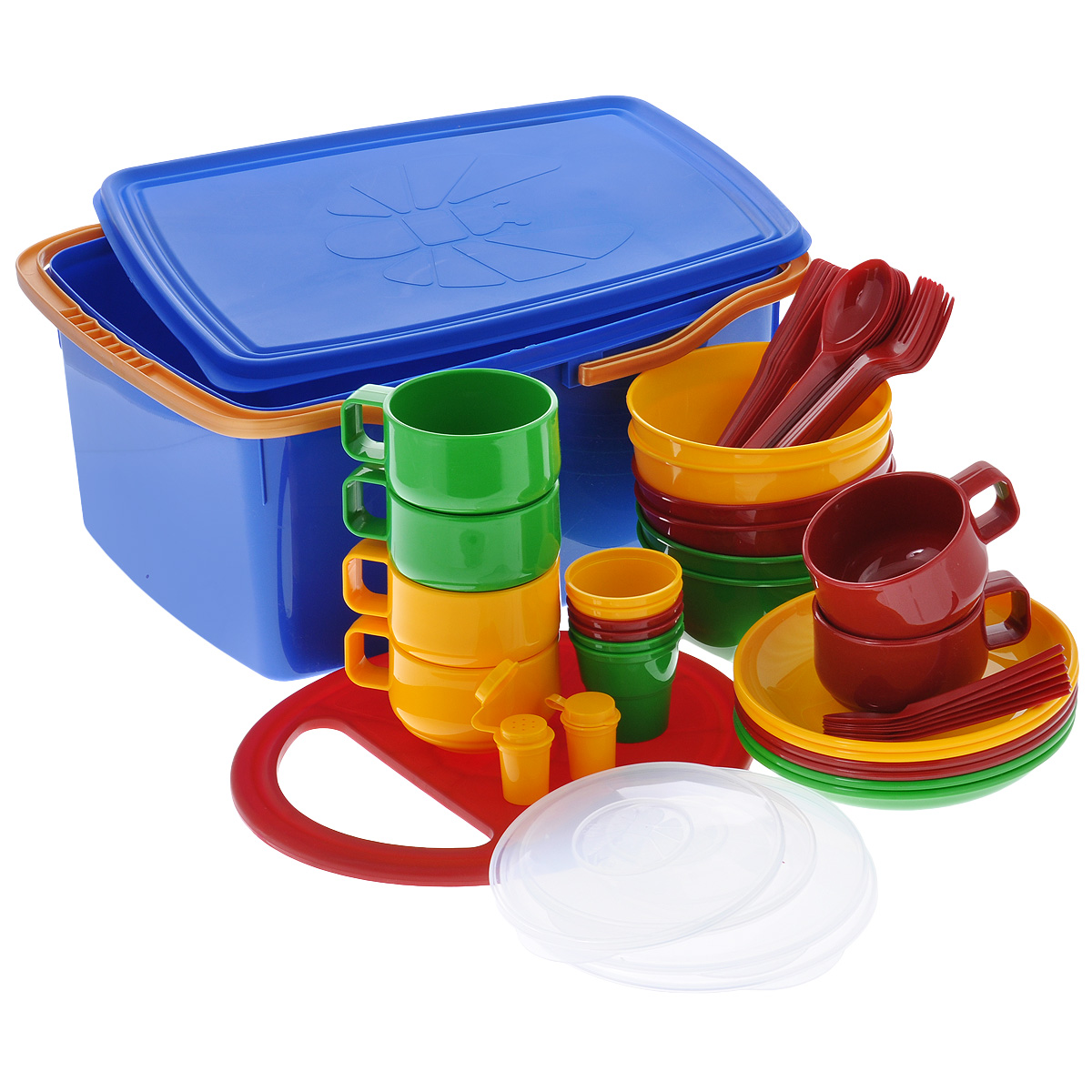 Набор посуды Solaris, в контейнере, на 6 персонWS 7064Компактный расширенный набор посуды Solaris на 6 персон, в удобном пластиковом контейнере с ручками и герметичной крышкой.В походном положении весь набор находится внутри контейнера.Свойства посуды:Посуда из ударопрочного пищевого полипропилена предназначена для многократного использования. Легкая, прочная и износостойкая, экологически чистая, эта посуда работает в диапазоне температур от -25°С до +110°С. Можно мыть в посудомоечной машине. Эта посуда также обеспечивает:Хранение горячих и холодных пищевых продуктов;Разогрев продуктов в микроволновой печи;Приготовление пищи в микроволновой печи на пару (пароварка);Хранение продуктов в холодильной и морозильной камере;Кипячение воды с помощью электрокипятильника.Состав набора:Контейнер с герметичной крышкой и ручками, объем 17 л;6 мисок, объем 1 л;2 герметичных крышки к миске, 1 л;6 тарелок;2 герметичных крышки к тарелке;6 чашек, объем 0,28 л;6 стаканов с мерными делениями, объем 0,1 л;6 вилок;6 ложек столовых;6 ножей;6 ложек чайных;2 солонки;Разделочная доска.Размер контейнера: 40 см х 31 см х 19 см.Диаметр чашек: 9,3 см.Высота чашек: 6,5 см.Диаметр мисок: 15 см.Высота мисок: 7,5 см.Диаметр стаканов: 6,5 см.Высота стаканов: 6,5 см.Диаметр тарелок: 19 см.Высота тарелок: 3 см.Размер разделочной доски: 30,5 см х 26,5 см.Длина ложек: 19 см.Длина вилок: 19 см.Длина ножей: 19 см.Длина чайных ложек: 13,5 см.