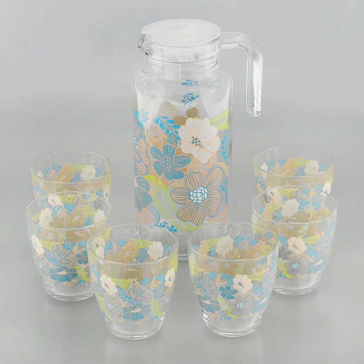 Набор для воды Pasabahce Workshop Blue Dream, 7 предметов1193703_голубойНабор Pasabahce Workshop Blue Dream состоит из шести стаканов и кувшина, выполненных из прочного натрий-кальций-силикатного стекла. Предметы набора, декорированные цветочным рисунком, предназначены для воды, сока и других напитков. Кувшин снабжен пластиковой, плотно закрывающейся крышкой. Изделия сочетают в себе элегантный дизайн и функциональность. Благодаря такому набору пить напитки будет еще вкуснее.Набор для воды Pasabahce Workshop Blue Dream прекрасно оформит праздничный стол и создаст приятную атмосферу. Такой набор также станет хорошим подарком к любому случаю. Можно мыть в посудомоечной машине и использовать в микроволновой печи.Объем кувшина: 1,3 л. Диаметр кувшина (по верхнему краю): 7,5 см. Высота кувшина (без учета крышки): 22,5 см. Объем стакана: 285 мл. Диаметр стакана (по верхнему краю): 8 см. Высота стакана: 9 см.