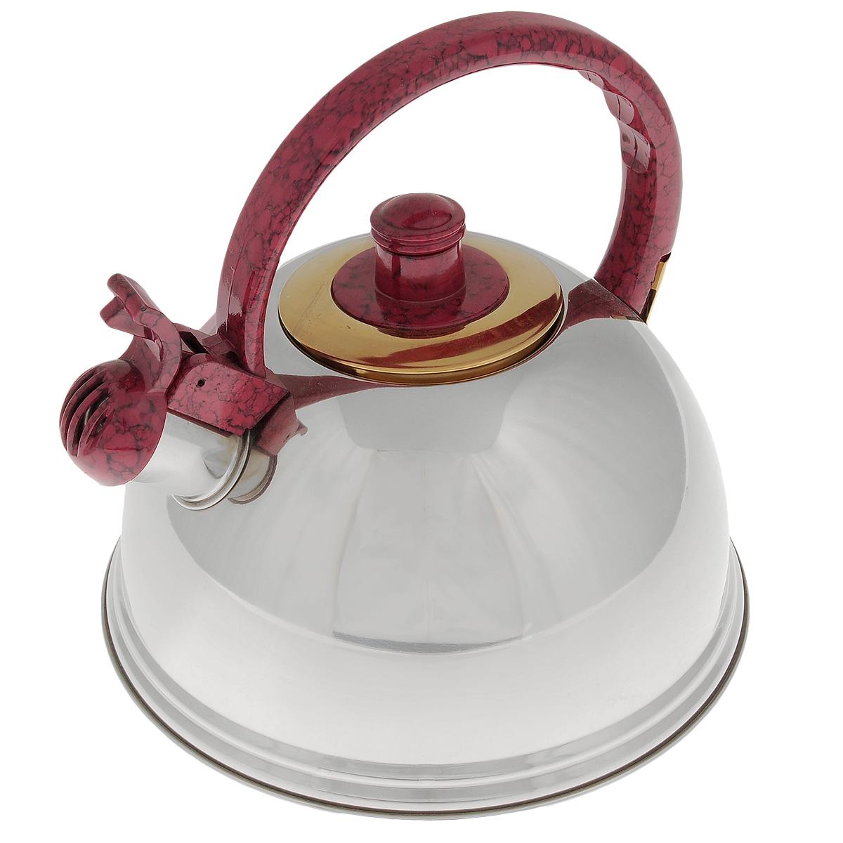 Чайник Mayer & Boch, со свистком, цвет: красный, 2,7 л. 2359468/5/4Чайник Mayer & Boch выполнен из нержавеющей стали высокой прочности с зеркальной полировкой. Чайник оснащен откидным свистком, который громко оповестит о закипании воды. Удобная эргономичная ручка и крышка выполнены из нейлона. Такой чайник идеально впишется в интерьер любой кухни и станет замечательным подарком к любому случаю. Подходит для всех типов плит, кроме индукционных. Можно мыть в посудомоечной машине.Диаметр чайника по верхнему краю: 8,5 см.Высота чайника (с учетом ручки): 21 см.