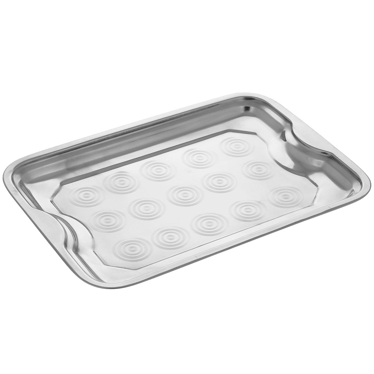 Поднос Padia, 37,5 см х 27 см115510Прямоугольный поднос Padia выполнен из серебряно-нержавеющей стали. Он отлично подойдет для красивой сервировки различных блюд, закусок и фруктов на праздничном столе. Благодаря двум ручкам поднос с легкостью можно переносить с места на место. Поднос Padia займет достойное место на вашей кухне. Размер подноса: 37,5 см х 27 см х 2,5 см.