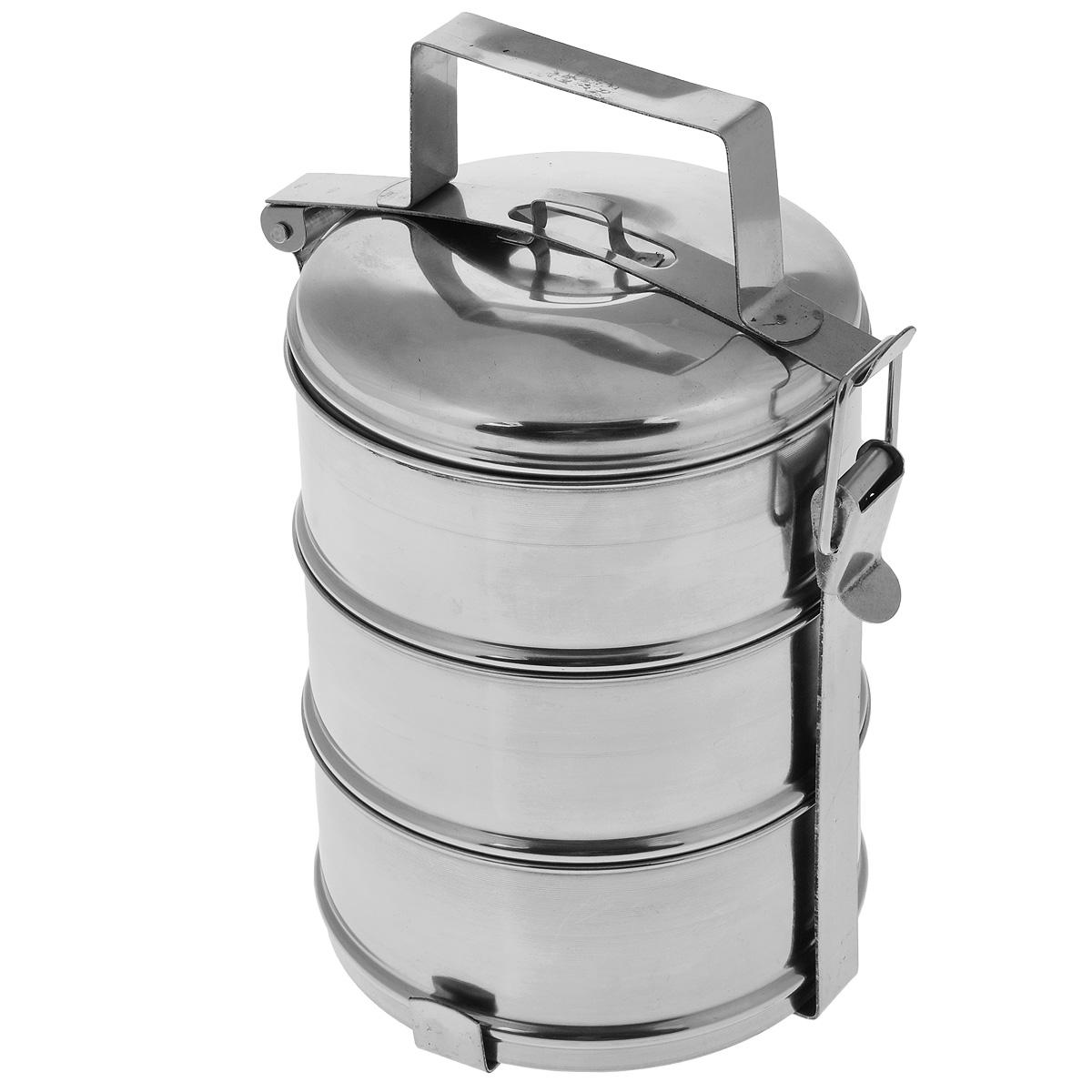 Ланч-бокс Padia, 14 см х 26 см, 3 контейнераSC-FD421004Ланч-бокс Padia станет незаменимой вещью для офисных работников, водителей, путешественников и туристов. Изделие представляет собой 3 круглых контейнера, изготовленных из нержавеющей стали и предназначенных для переноски и хранения пищевых продуктов. Для удобства и компактности контейнеры вставляются один в другой и закрываются сверху крышкой. Ланч-бокс оснащен механизмом, благодаря которому все контейнеры фиксируются в одном положении и во время транспортировки не падают. Такой ланч-бокс идеален для пикников и путешествий. Вы можете носить в нем обеды и завтраки, супы, закуски, фрукты, овощи и другое. Размер одного контейнера: 14 см х 14 см х 6,5 см.Общий размер ланч-бокса (с учетом крышки): 14 см х 14 см х 26 см.