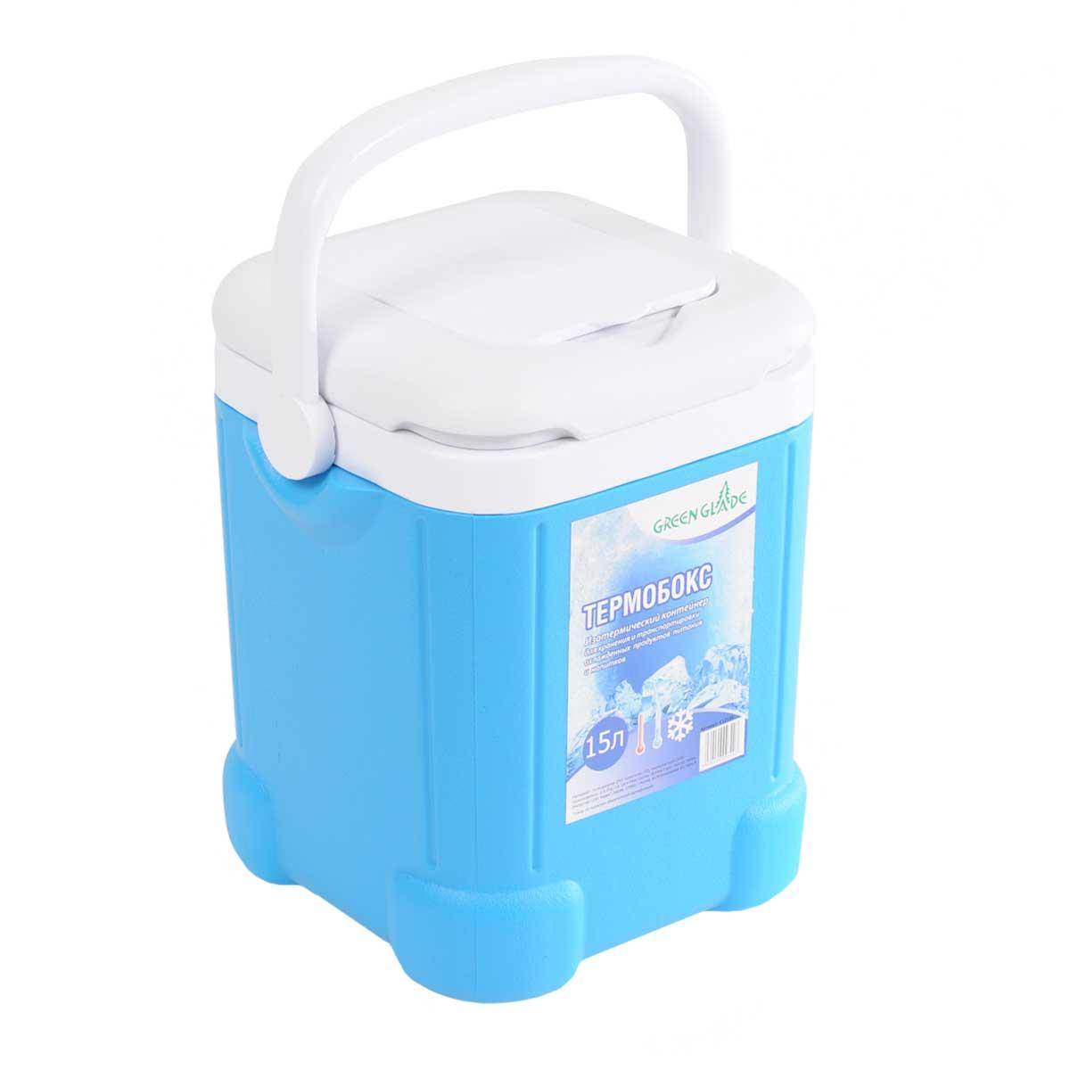 Контейнер изотермический Green Glade, цвет: голубой, 15 л9103500790Легкий и прочный изотермический контейнер Green Glade предназначен для сохранения определенной температуры продуктов во время длительных поездок. Корпус и крышка контейнера изготовлены из высококачественного пластика. Между двойными стенками находится термоизоляционный слой, который обеспечивает сохранение температуры. При использовании аккумулятора холода, контейнер обеспечивает сохранение продуктов холодными на 8-10 часов. Подвижная ручка делает более удобной переноску контейнера. Крышка имеет дополнительный небольшой отсек.Контейнер идеально подходит для отдыха на природе, пикников, туристических походов и путешествий.Контейнеры Green Glade можно использовать не только для сохранения холодных продуктов, но и для транспортировки горячих блюд. В этом случае аккумуляторы нагреваются в горячей воде (температура около 80° С) и превращаются в аккумуляторы тепла. Подготовленные блюда перед транспортировкой подогреваются и горячими укладываются в сумку.Объем контейнера: 15 л.Размер контейнера: 26 см х 38 см х27 см.