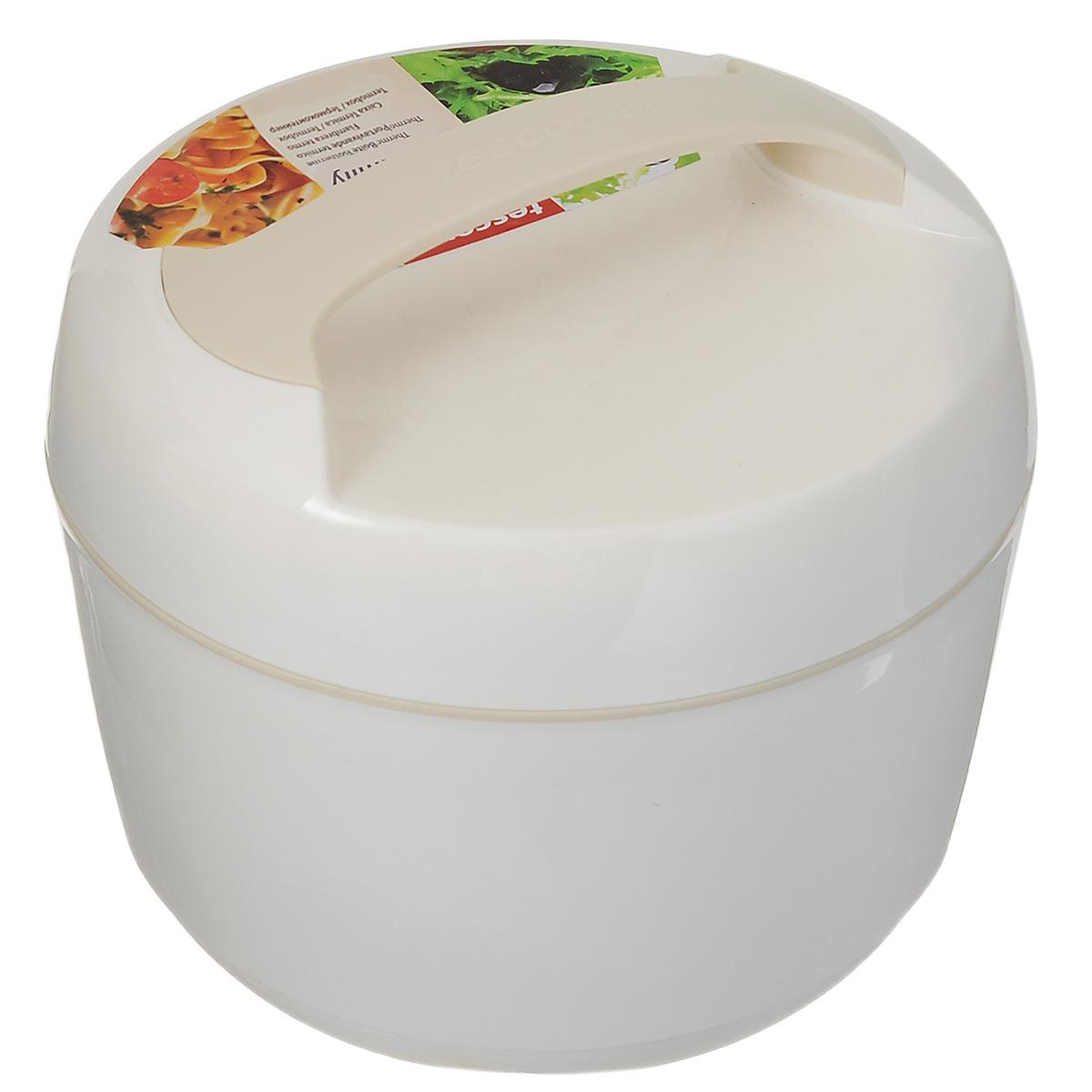 Термоконтейнер Tescoma Family, цвет: белый, 2,5 лVT-1520(SR)Термоконтейнер Tescoma Family изготовлен из высококачественного пищевого пластика. Прекрасно подходит для длительного хранения и переноски теплой и холодной пищи. Двойные стенки контейнера с высокоэффективным теплоизоляционным заполнением сохраняют пищу теплой или холодной в течение нескольких часов. При обычном использовании контейнер не бьющийся. Крышка плотно и удобно закручивается. Для комфортной переноски предусмотрена ручка. В комплекте имеется специальная емкость объемом 1 л для отдельного хранения закусок, гарнира и т.п. Емкость удобно помещается внутрь контейнера. Контейнер нельзя мыть в посудомоечной машине, пластиковая емкость с крышкой пригодна для мытья в посудомоечной машине. Объем контейнера: 2,5 л. Диаметр контейнера: 22 см. Высота контейнера: 17 см. Объем емкости: 1 л. Диаметр емкости: 19 см. Высота стенки емкости: 4,5 см.