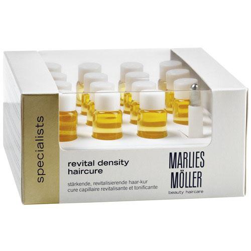 Marlies Moller Specialist - Средство для восстановления густоты волос 15 х 6 млFS-00610Мощный натуральный биостимулятор для усиления роста волос. Возвращает здоровье коже головы. Укрепляет корни волос. Защищает луковицы и продлевает активный жизненный цикл волос. Сенсационно ускоряет рост волос. Увеличивает диаметр волоса. Делает волосы более плотными и эластичными. Глубоко увлажняет и восстанавливает структуру волос. Это сыворотка, упакованная во флакончики по 6 мл. В упаковке их 15. Один флакон рассчитан на два применения. Упаковка рассчитана на курс - 1 месяц. Наносится 1 раз в день (5 - 6 капель) массирующими движениями на кожу головы. Обязательно расчешите волосы щеткой для распределения средства по длине волос. Премиальный уход с профессиональным эффектом. Высокая концентрация активных компонентов. Мягкое средство без силиконов.Наносите средство для волос Revital Density Haircure один раз в день на кожу головы и втирайте его массирующими движениями. Можно наносить как на влажные волосы сразу после мытья, так и на сухие. Одной бутылочки хватает на два применения.