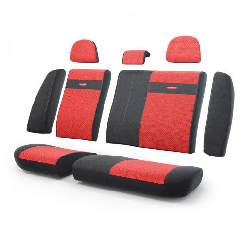 Авточехлы Autoprofi Трансформер, велюр, цвет: черный, красный, 13 предметов21395599Чехлы Autoprofi Трансформер - новая модель автомобильных чехлов. Главной особенностью их стала модульная конструкция, благодаря которой можно укомплектовать 5-, 7- или 8-местный автомобиль. Запатентованная конструкция чехлов с молниями и торцевыми клапанами позволит их адаптировать в автомобилях с любым кузовом - седана, минивена, кроссовера, внедорожника или универсала. Приэтом специальные клапаны закрывают торцы спинок и подлокотников, позволяя их складывать иобеспечивая плотное прилегание даже на нестандартных креслах.Немаловажно, что данная серия чехлов на автомобильное сиденье оснащена распускаемым боковым швом, что позволяет их использовать в автомобилях с боковой подушкой безопасности. Выполнены из велюра. Из прежних наработок, полюбившихся автомобилистам, в данных чехлах сохранилось крепление крючками и липучками, которые прочно фиксируют чехлы на сиденье. Чехлы для переднего ряда серии Трансформер сочетаются со всеми чехлами заднего ряда этой серии.Особенности:Карманы в спинках передних сидений.Предустановленные крючки на широких резинках.Боковая поддержка спины.Молнии в спинке и сиденье заднего ряда: 8. Толщина поролона: 5 мм.Комплектация: 3 подголовника, 1 спинка заднего ряда, 1 сиденье заднего ряда, 6 клапанов спинки, 2 клапана сиденья.