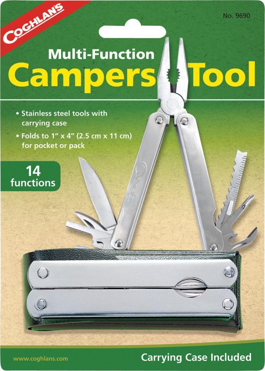 Мультитул для кемпинга COGHLANSSPIRIT ED 1050Универсальный складной многофункциональный инструмент станет надежным и хорошим помощником. Содержит: - пассатижи;- плоскогубцы;- кусачки;- клинок с прямой заточкой;- консервный нож; - открывалка;- 3 плоских отвертки;-шило/кернер;- двусторонний напильник с режущей кромкой; -крестовая отвертка.