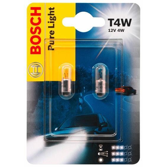Лампа Bosch T4W 2шт 198730102310498Новые лампы Bosch выглядят наиболее эффектно в сочетании с фарами из прозрачного стекла и подчеркивают современный дизайн автомобилей. Основным предназначением габаритных огней является обозначение транспортного средства во время стоянки в темное время сутокили в сложных погодных условиях, таких как ливень или густой туман, при этом лучше заметен сам автомобиль с фарами Bosch. Напряжение: 12 вольт