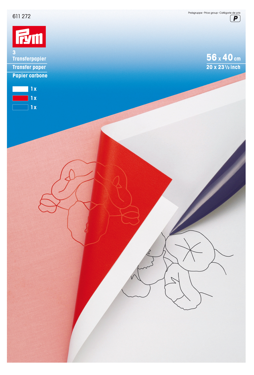 Бумага переводная Prym, 56 х 40 см, 3 цвета09840-20.000.00Набор Prym состоит из трех листов переводной бумаги белого, красного, синего цвета размера 56 см х 40 см. Бумага используется для перевода чертежей и маркировки на различные поверхности, такие как ткань, кожа, дерево, гипс, фарфор, картон. Разметка легко смывается водой. Перед использованием следует опробовать нанесение и удаление разметки на образце материала. Не следует допускать контакта с глазами!Размер листа: 56 см х 40 см.Материал: бумага.