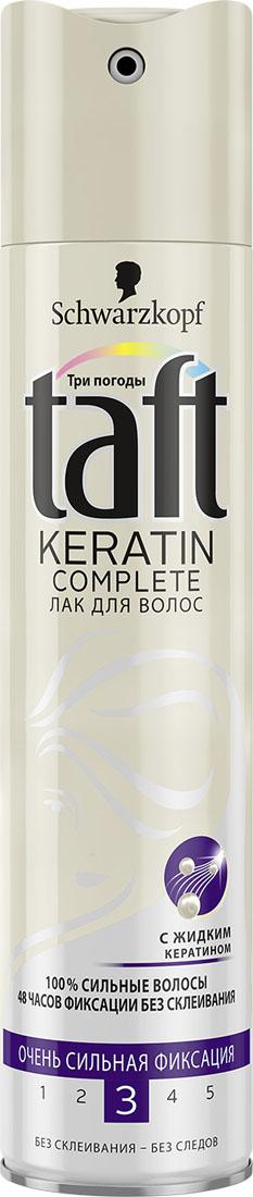 TAFT CLASSIC Лак Complete с Кератином очень сильной фиксации, 225 мл9063431С ЖИДКИМ КЕРАТИНОМ100% УКРЕПЛЕНИЕ ВОЛОС –ОЧЕНЬ СИЛЬНАЯ ФИКСАЦИЯФормула Taft с жидким кератином, идентичнымнатуральному кератину волоса, придает волосам силудля длительной фиксации без склеивания!- 48 часов фиксации без склеивания, не оставляет следов.- Помогает защитить волосы от пересушивания, неутяжеляя их.
