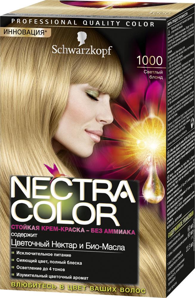 Schwarzkopf Краска для волос Nectra Color, оттенок 1000 Светлый блонд , 142,5 млMP59.4DСтойкая крем-краска Nectra Color придает волосам роскошный цвет, при этом делая их невероятно красивыми и ухоженными. Формула без аммиака с улучшенной системой доставки красителя маслами использует силу и свойство масел максимизировать действие красителя. Богатство цвета и изумительный цветочный аромат вдохновят Вас, а превосходное питание придаст Вашим волосам еще больше шелковистости.