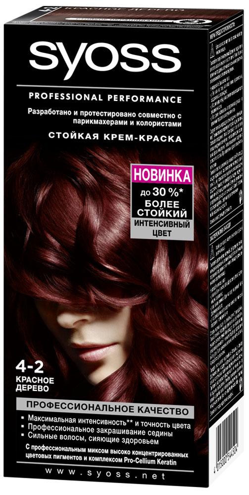 Syoss Color Краска для волос оттенок 4-2 Красное дерево, 115 млMP59.4DОткройте для себя профессиональное качество окрашивания с красками Syoss, разработанными и протестированными совместно с парикмахерами и колористами. Превосходный результат, как после посещения салона. Высокоэффективная формула закрепляет интенсивные цветовые пигменты глубоко внутри волоса, обеспечивая насыщенный, точный результат окрашивания и блеск волос, а также превосходное закрашивание седины. Кондиционер SYOSS «Защита Цвета- с комплексом Pro-Cellium Keratin и Провитамином Б5 способствует восстановлению волос изнутри – для сильных волос и стойкого, насыщенного цвета, полного блеска.