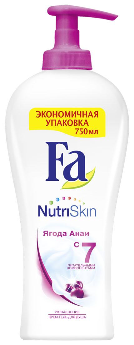 FA Гель для душа женский Nutri Skin Увлажнение Ягода акаи 750 мл, 750 мл12052922Откройте для себя ощущение невероятно нежной кожи с Fa NutriSkin.Fa NutriSkin Увлажнение – ягода Акаи: Увлажняющий крем-гель для душа содержит уникальный комплекс из 7-ми питательных компонентов и помогает Вашей кожеоставаться необыкновенно мягкой и гладкой. Интригующий и вдохновляющий аромат ягоды Акаи обволакивает тело и пробуждает чувства. - pH нейтральный- Хорошая переносимость кожей - Протестировано дерматологами