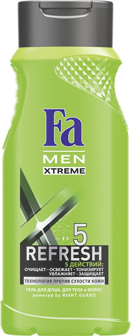 FA MEN Xtreme Гель для душа Refresh 5 , 250 млFS-00897Fa MEN Гель для душа Xtreme Refresh5. Почувствуй экстра свежесть и 5 комплексных действий в 1 Геле для душа: – глубокое очищение – длительная свежесть – тонизирующий эффект – увлажнение – защита кожи. Инновационная технология Против Сухости Кожи придает свежесть и увлажняет кожу, предотвращая ощущение сухости. Освежающий и бодрящий аромат для длительного эффекта свежести.