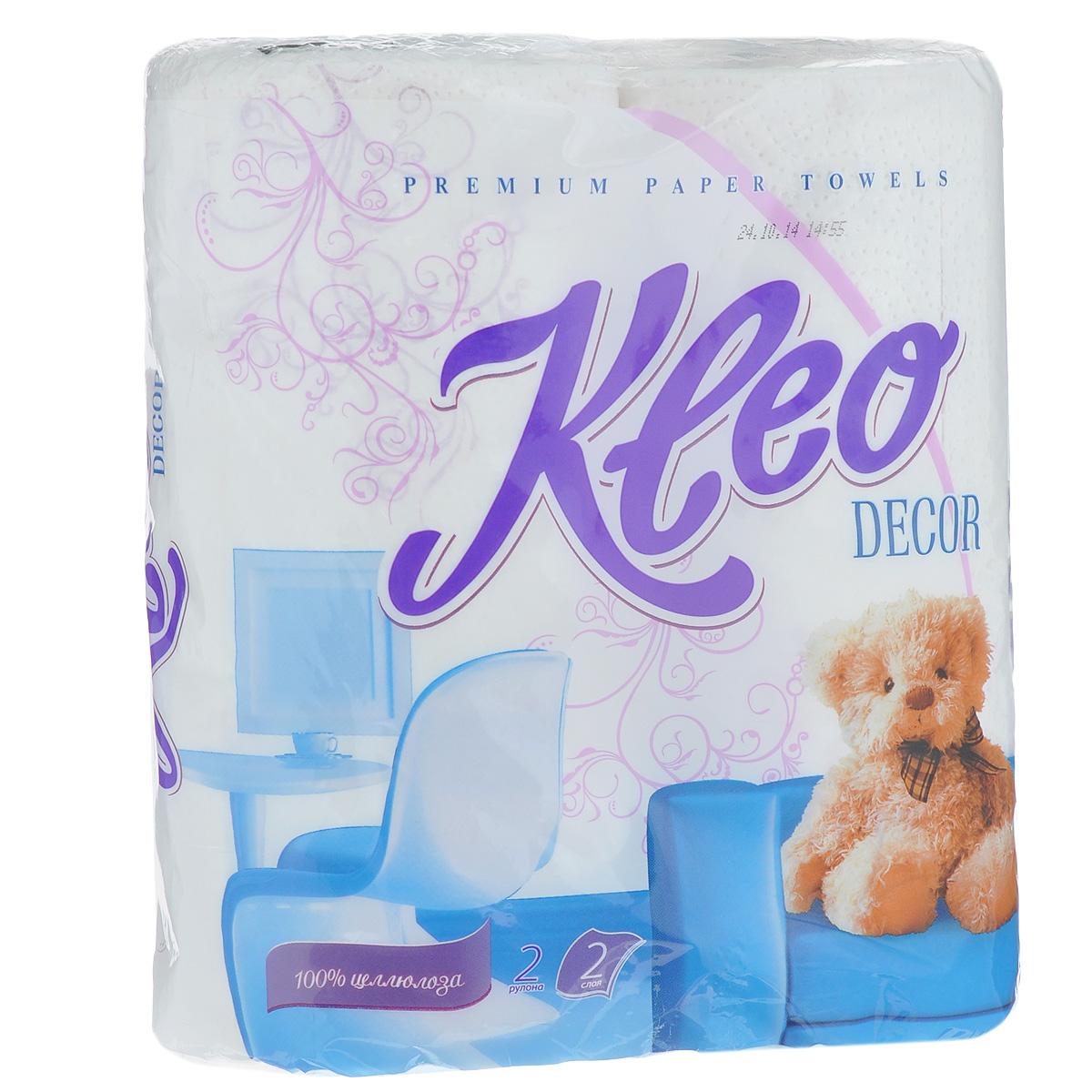 Полотенца бумажныеKleo Decor, двухслойные, цвет: белый, 2 рулона15299Бумажные полотенца Kleo Decor созданы из экологически чистого волокна - 100% целлюлозы. Двухслойные, с цветным рисунком. Хорошо впитывают влагу и идеально подходят для ежедневного использования.Количество листов: 48 шт. Количество слоев: 2. Размер листа: 25 см х 23 см. Состав: 100% целлюлоза.