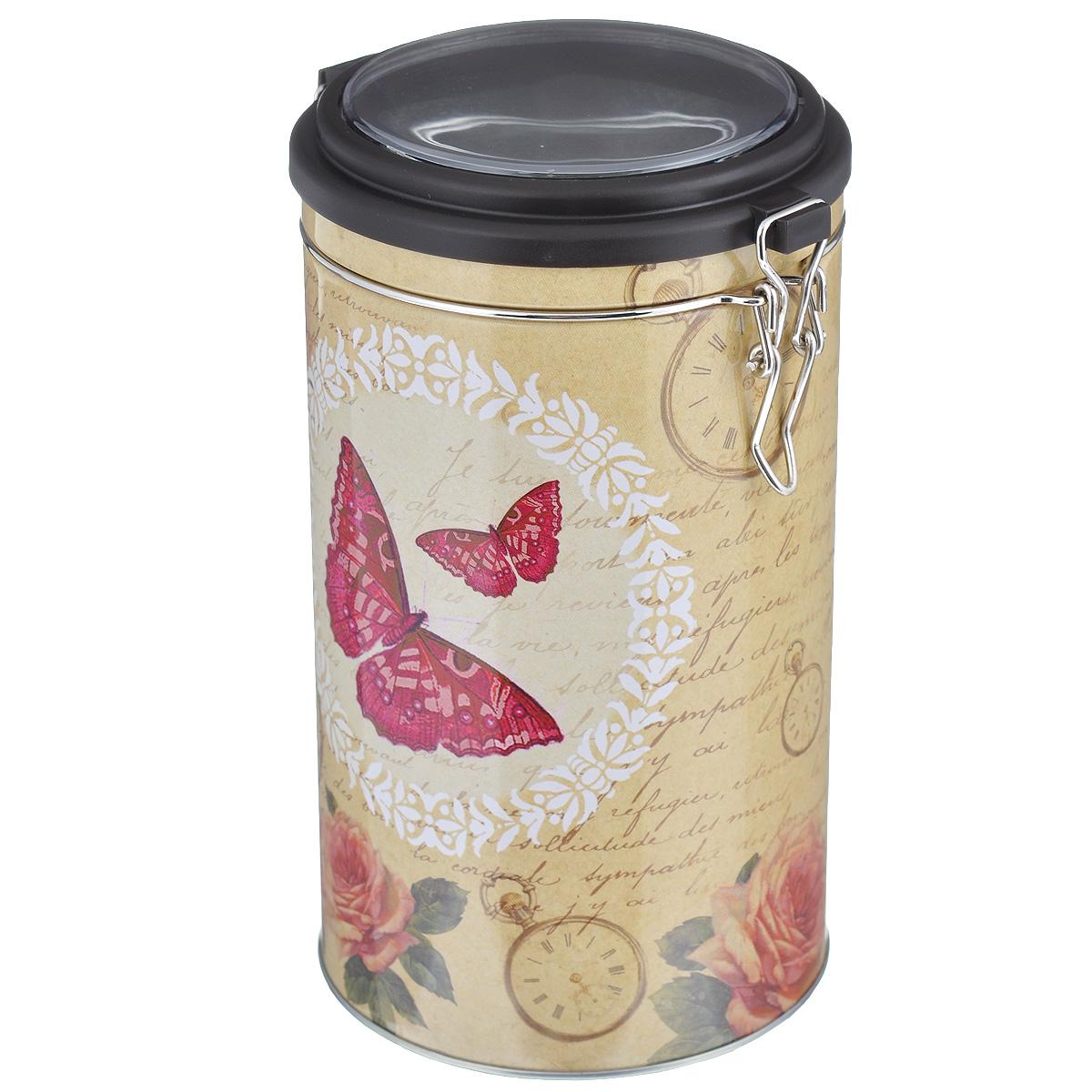 Банка для сыпучих продуктов Феникс-презент Розовая бабочка, 1,8 лVT-1520(SR)Банка для сыпучих продуктов Феникс-презент Розовая бабочка, изготовленная из окрашенного черного металла, оформлена ярким рисунком. Банка прекрасно подойдет для хранения различных сыпучих продуктов: специй, чая, кофе, сахара, круп и многого другого. Емкость плотно закрывается прозрачной пластиковой крышкой на металлический замок. Благодаря этому она будет дольше сохранять свежесть ваших продуктов.Функциональная и вместительная, такая банка станет незаменимым аксессуаром на любой кухне. Нельзя мыть в посудомоечной машине.Объем банки: 1,8 л.Высота банки (без учета крышки): 17,4 см. Диаметр банки (по верхнему краю): 10,5 см.