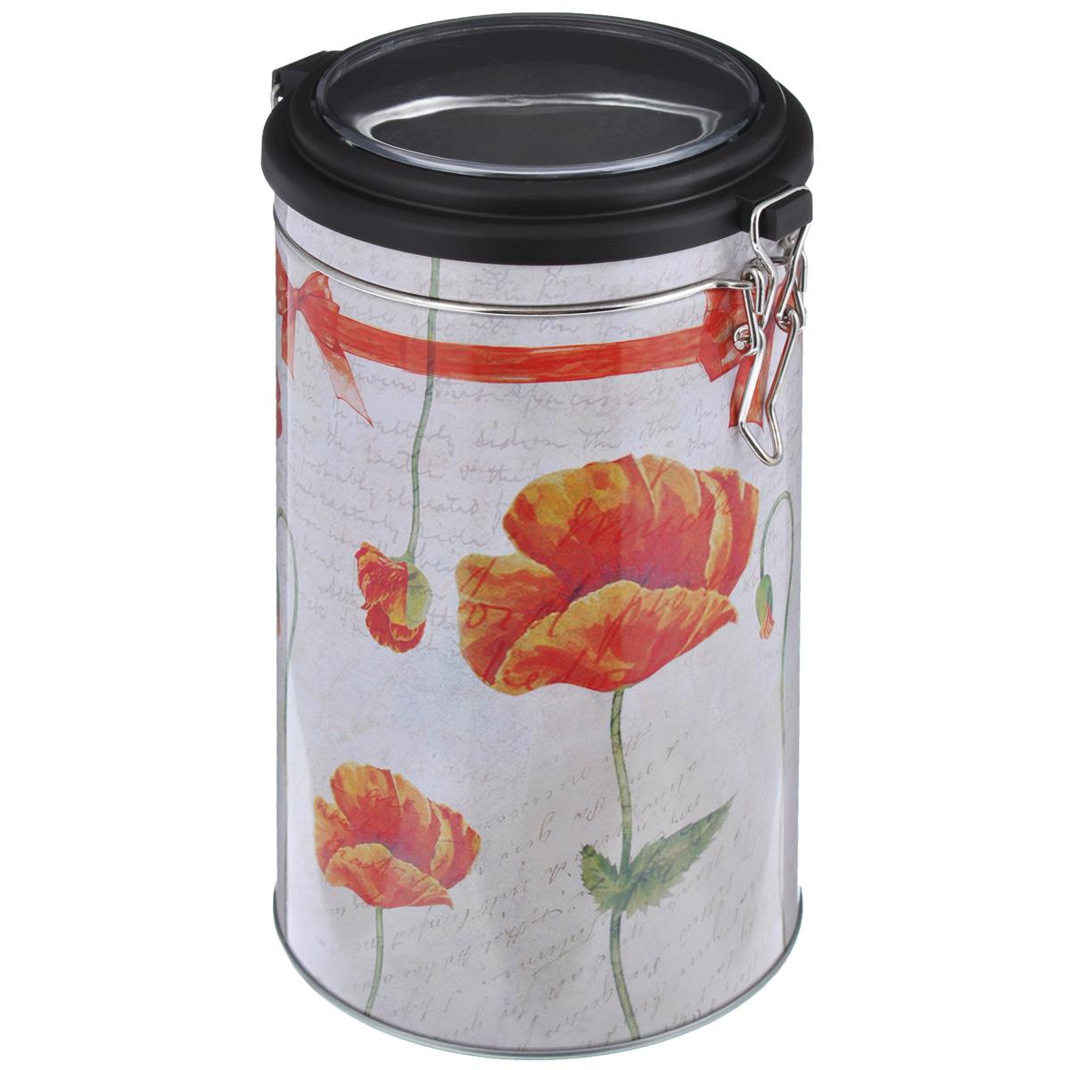 Банка для сыпучих продуктов Феникс-презент Маки, 1,8 лFA-5126-2 WhiteБанка для сыпучих продуктов Феникс-презент Маки, изготовленная из окрашенного черного металла, оформлена ярким рисунком. Банка прекрасно подойдет для хранения различных сыпучих продуктов: специй, чая, кофе, сахара, круп и многого другого. Емкость плотно закрывается прозрачной пластиковой крышкой на металлический замок. Благодаря этому она будет дольше сохранять свежесть ваших продуктов.Функциональная и вместительная, такая банка станет незаменимым аксессуаром на любой кухне. Нельзя мыть в посудомоечной машине.Объем банки: 1,8 л.Высота банки (без учета крышки): 17,4 см. Диаметр банки (по верхнему краю): 10,5 см.