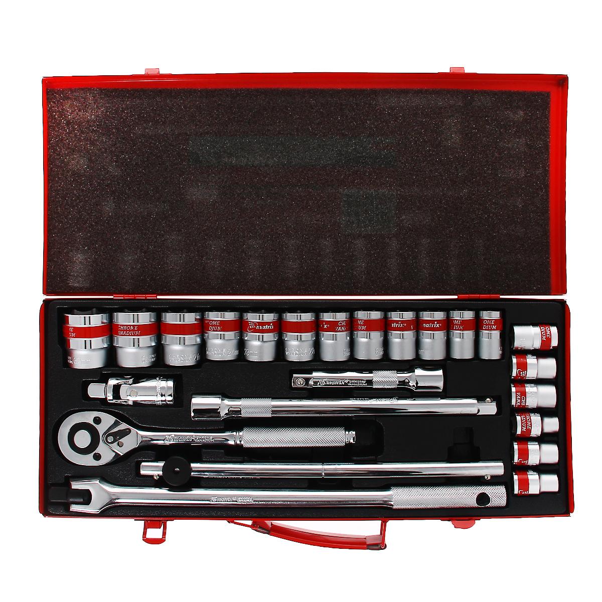 Набор шоферский Matrix, 24 предмета80621Шоферский набор Matrix предназначен для работы с резьбовыми соединениями. Инструмент изготовлен из хромованадиевой стали с хромированным покрытием, что обеспечивает высокое качество и долговечность.Состав набора:Головки торцевые шестигранные: 10 мм, 11 мм, 12 мм, 13 мм, 14 мм, 15 мм, 16 мм, 17 мм, 18 мм, 19 мм, 20 мм, 21 мм, 22 мм, 23 мм, 24 мм, 27 мм, 30 мм, 32 мм.Ключ трещоточный 1/2, 45 зубьев, с металлической ручкой, реверсом и механизмом быстрого сброса.Удлинитель 1/2 125 мм.Удлинитель 1/2: 250 мм.Вороток Т-образный 1/2.Карданный шарнир 1/2.Вороток с плавающим квадратом 1/2.